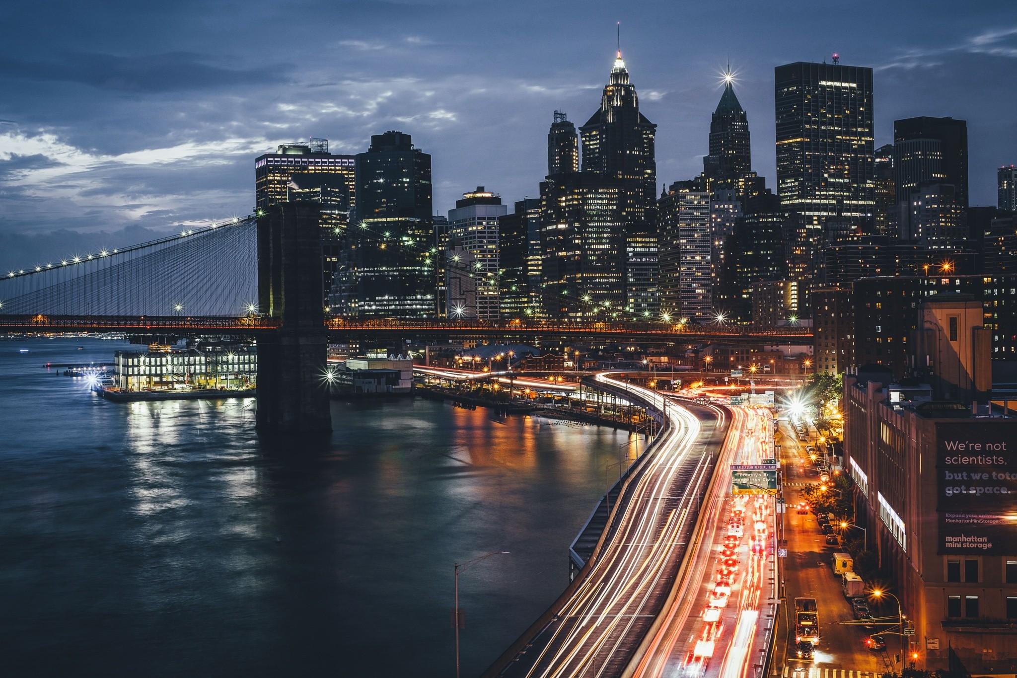 Wallpaper Lights City Cityscape Night Reflection