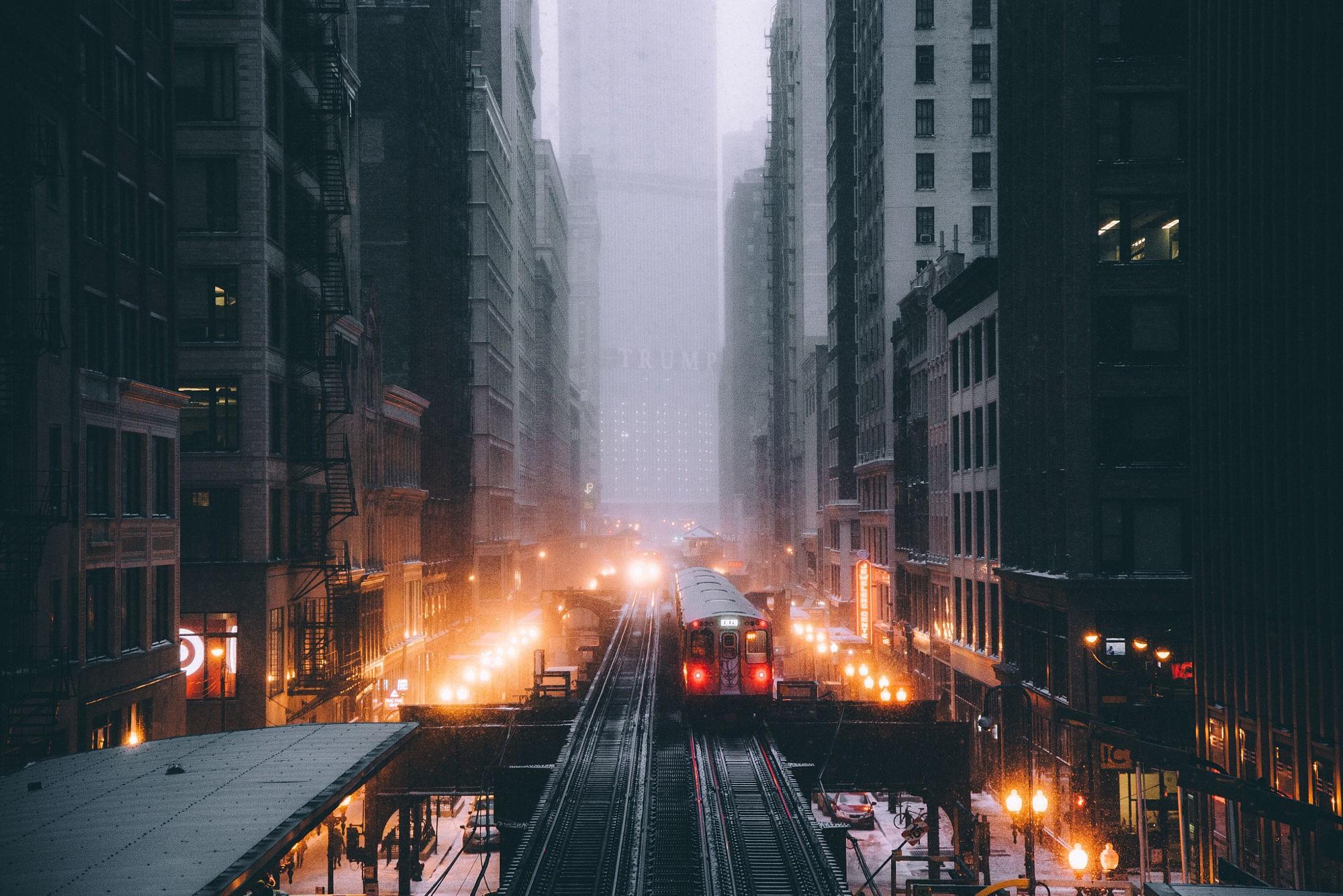 Wallpaper Lights City Street Cityscape Night Snow Train