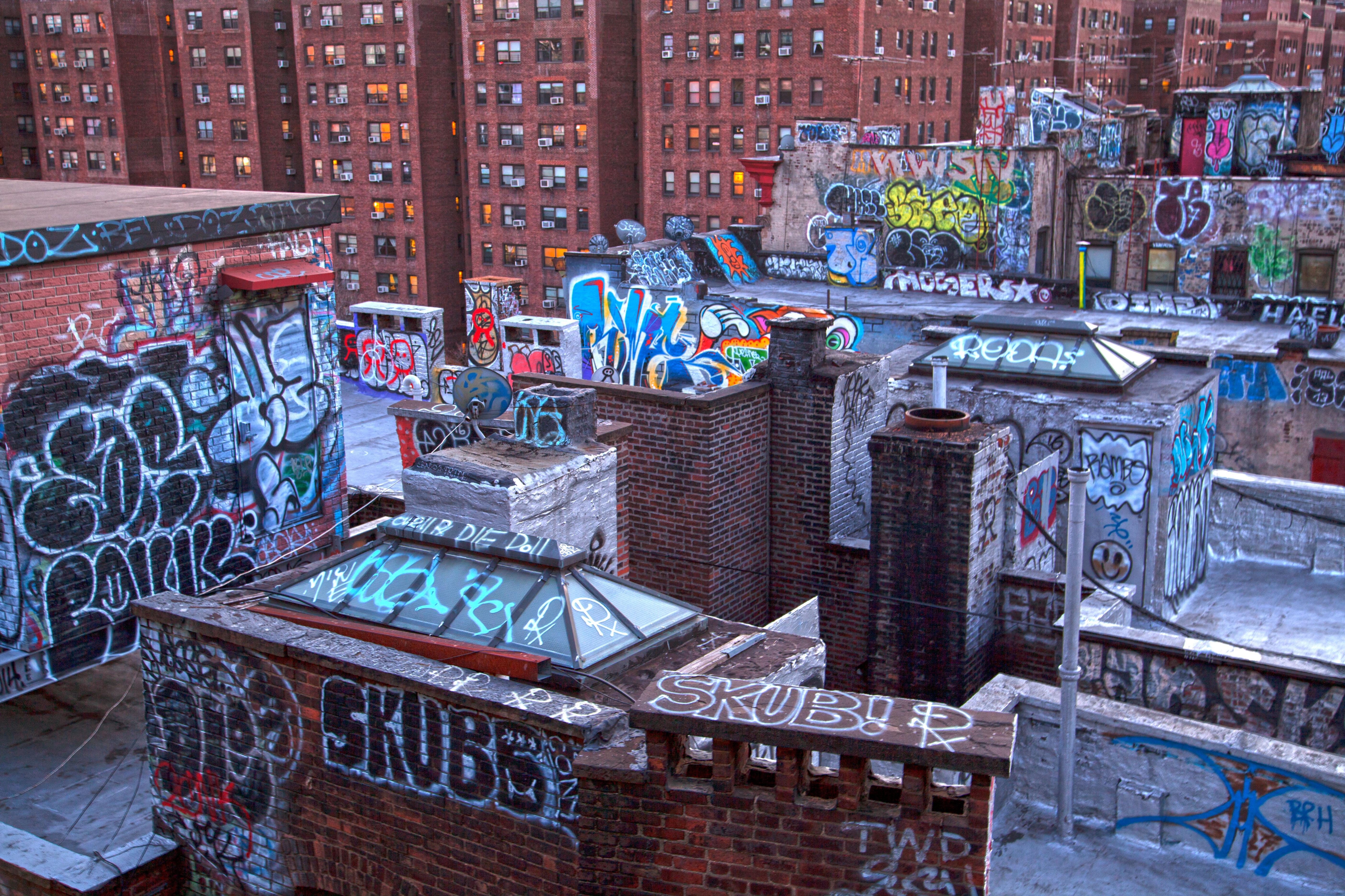 Lights City Urban Rooftops Graffiti Manhattan Neighborhood Brick Chinatown Gritty ART Color Buildings Newyork Windows Paint