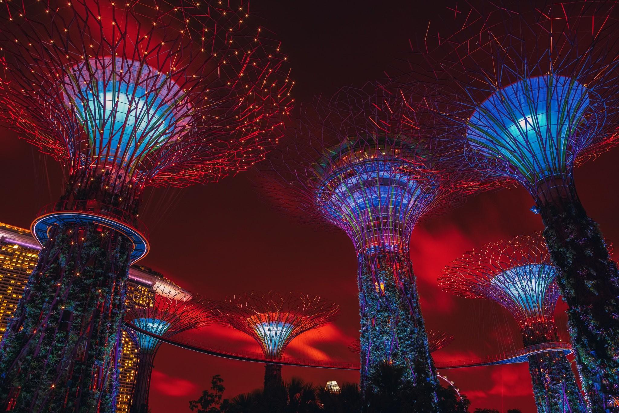 Wallpaper : cloud city, night, architecture, Singapore
