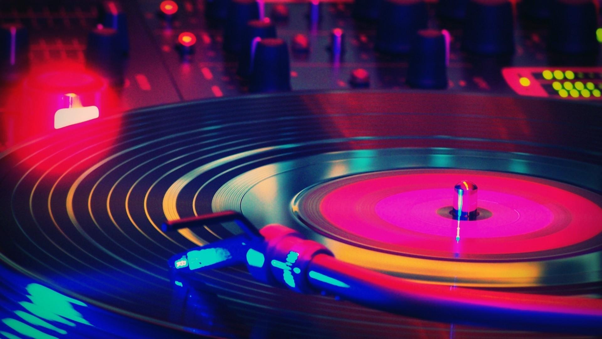 Lights Colorful Music Macro Circle Vinyl Record Players Disco Light Stage Nightclub Venue