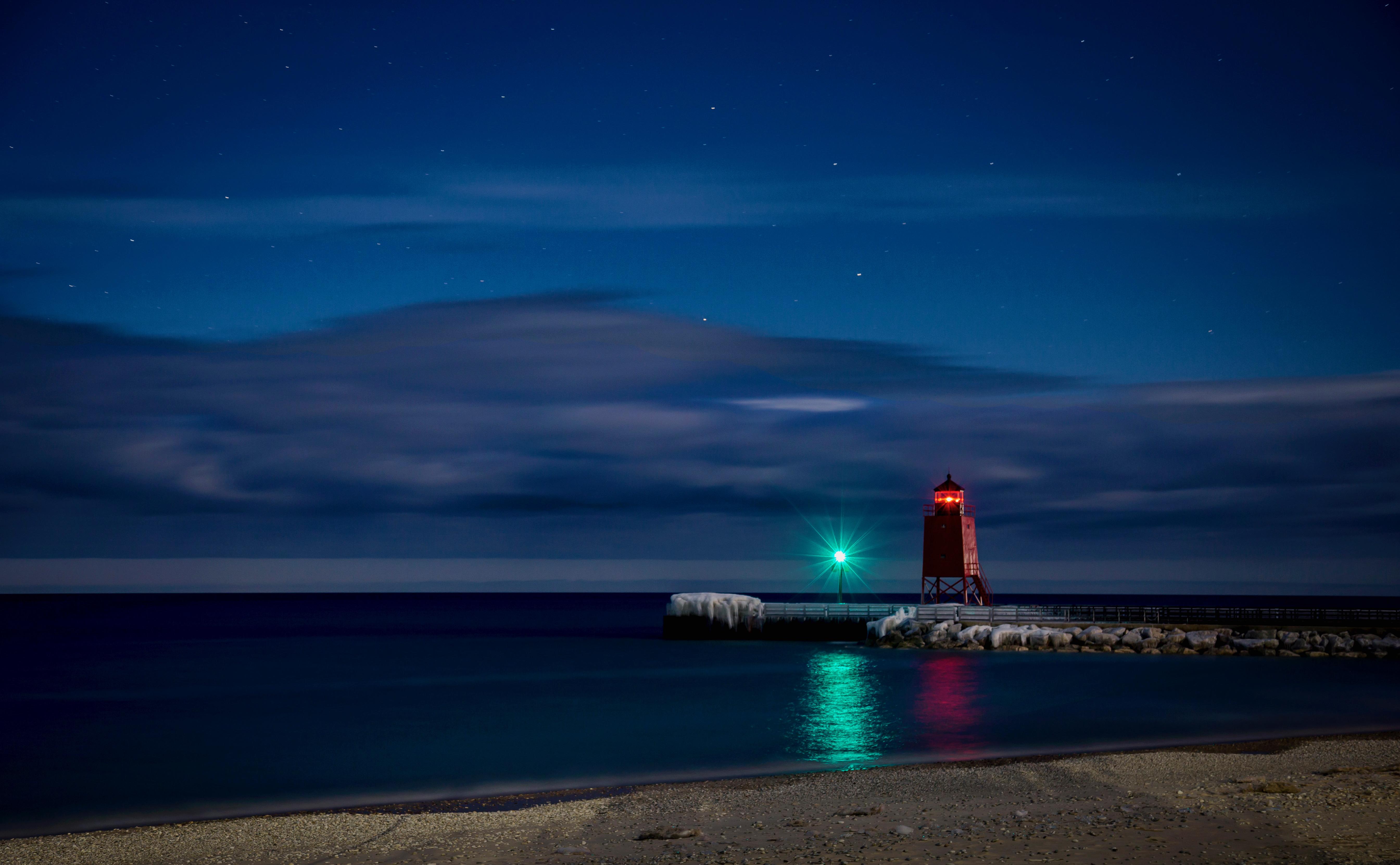 wallpaper lights dark sea night lake water shore