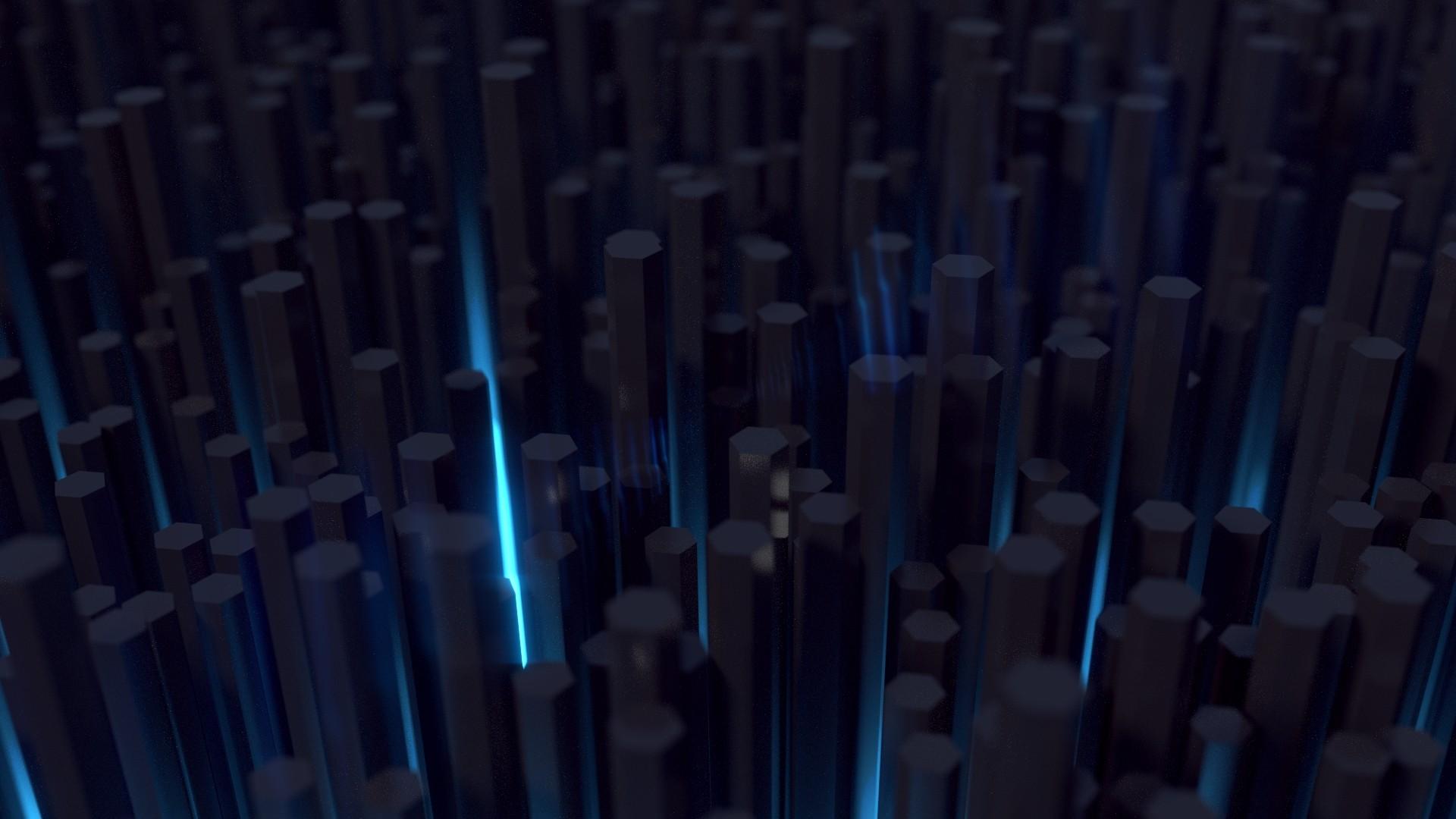 Wallpaper Lampu Seni Digital Abstrak 3D Biru Segi