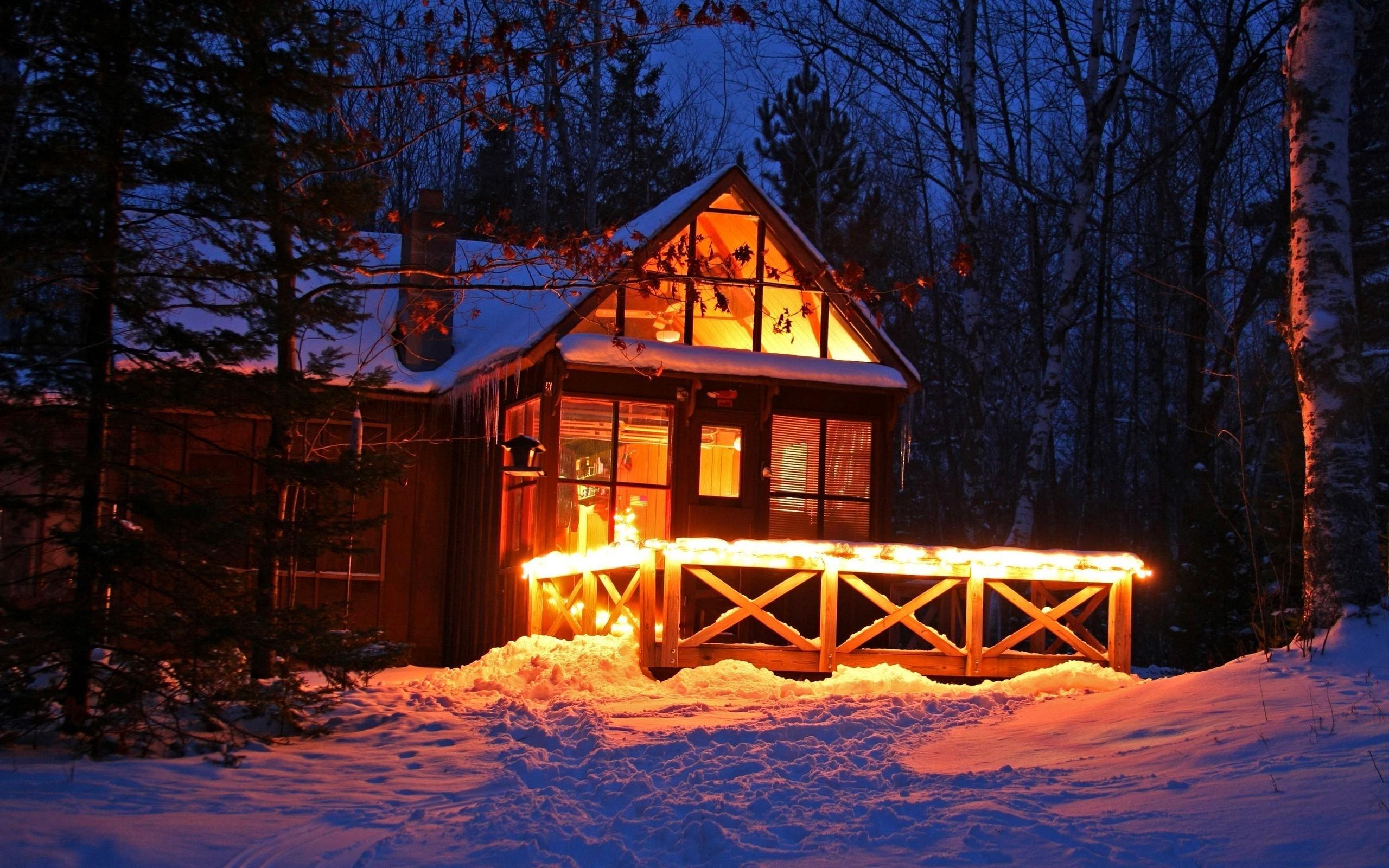 Fondos de pantalla luces bosque noche nieve invierno - Cabanas de madera en la nieve ...