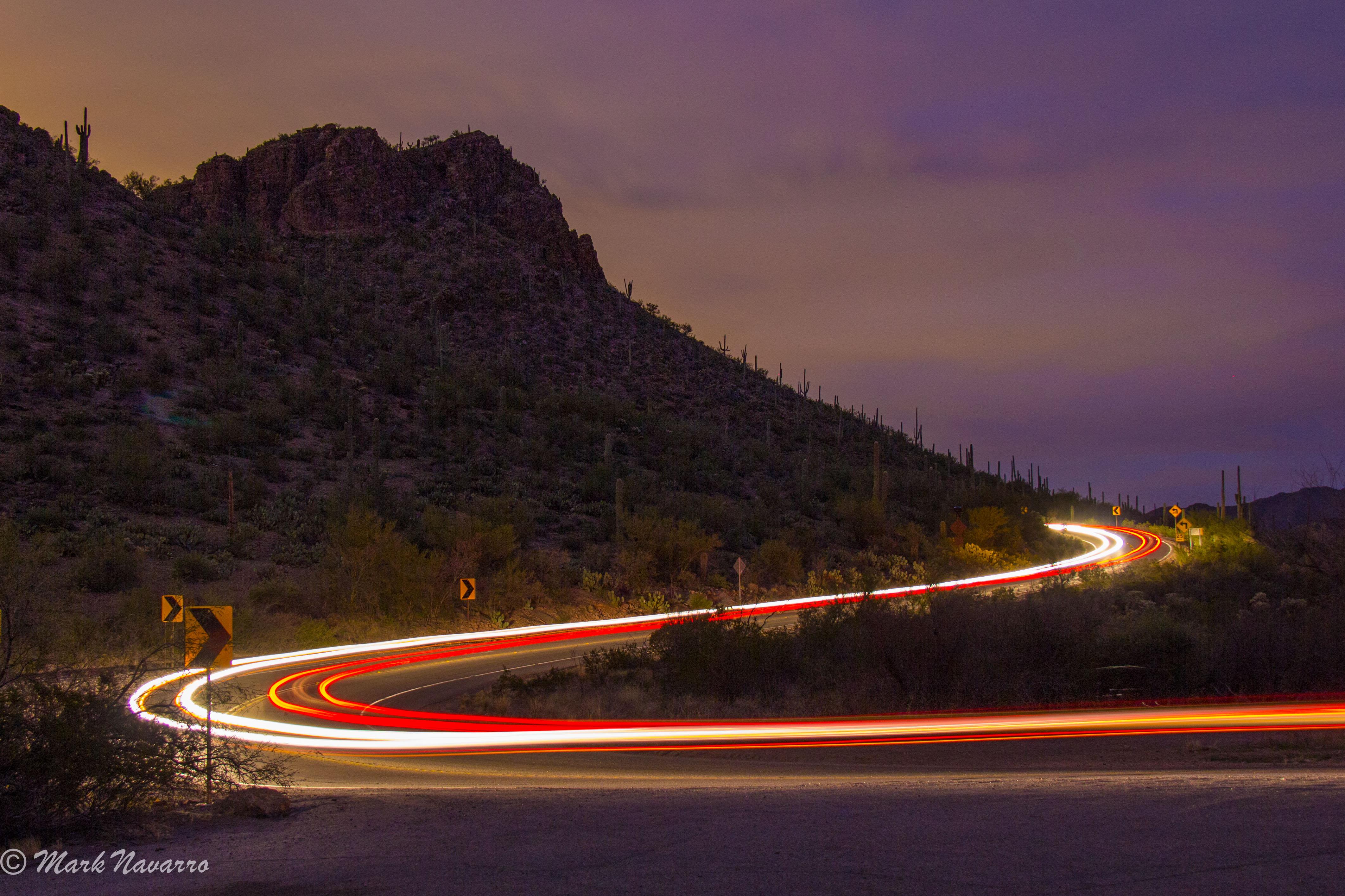 Wallpaper : lights, mountains, sunset, night, reflection, road