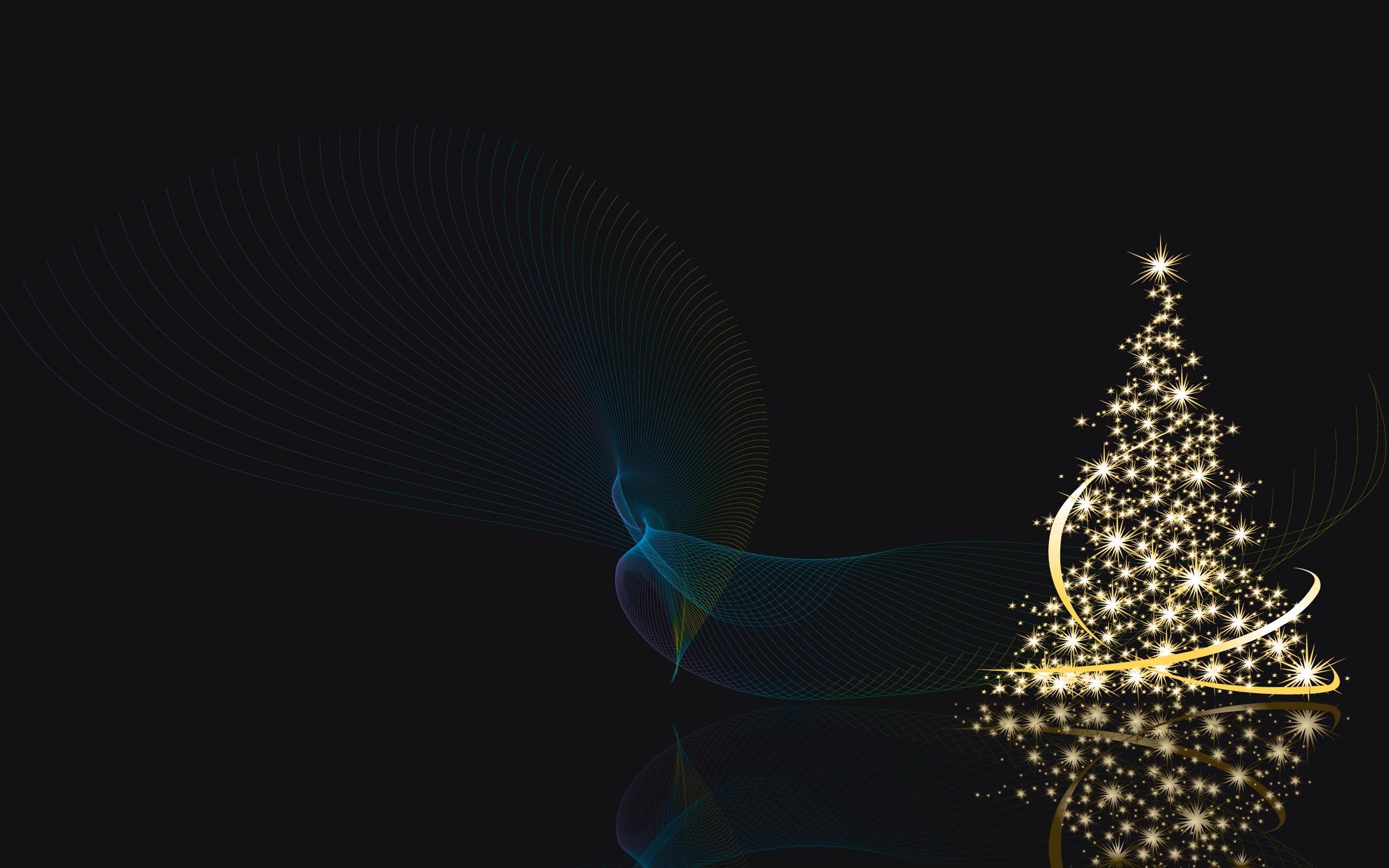 Wallpaper Night Christmas Tree Christmas Lights