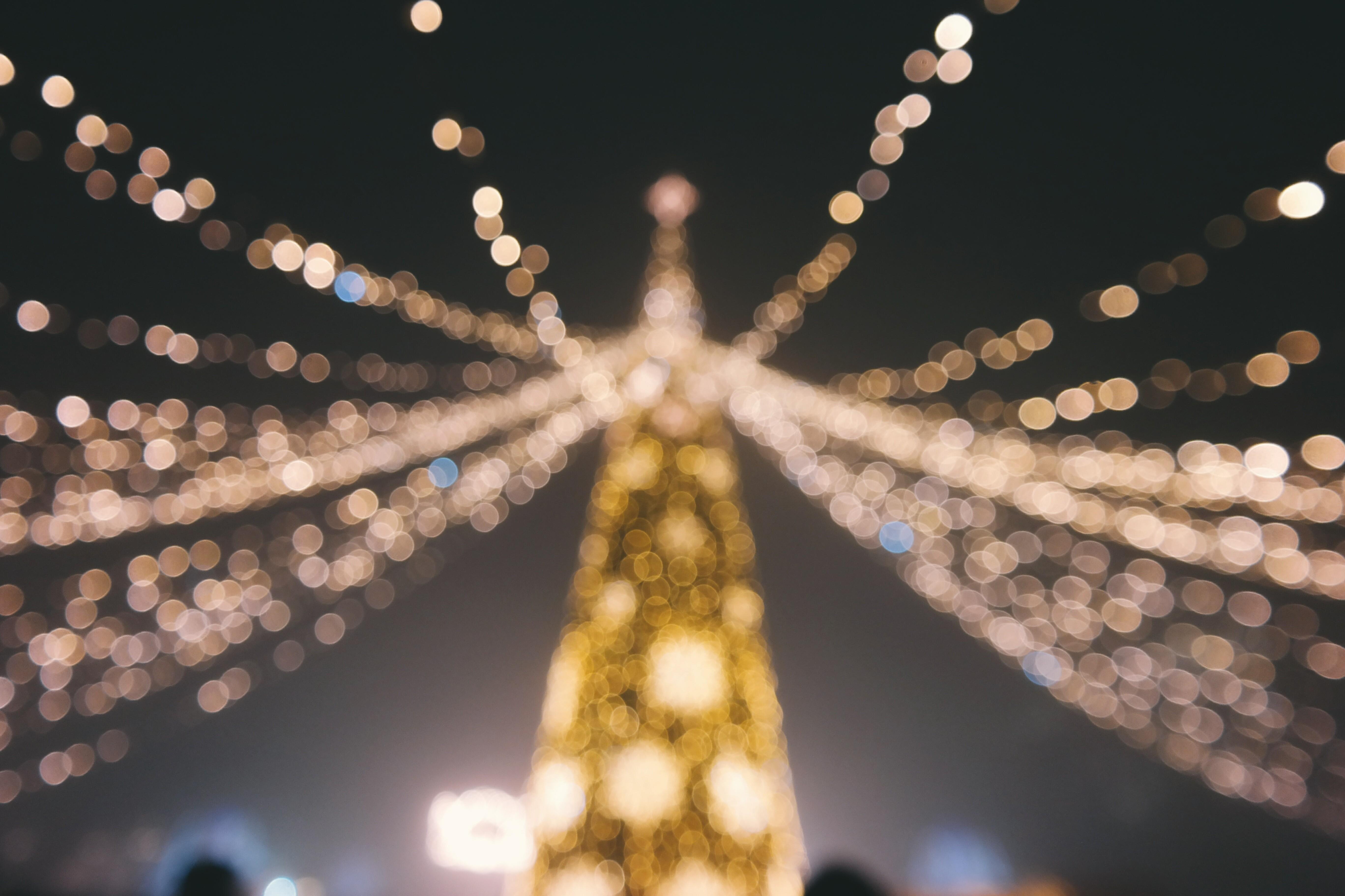 Addobbi Natalizi Luci.Sfondi Luci Notte Addobbi Natalizi Natale Bokeh Leggero