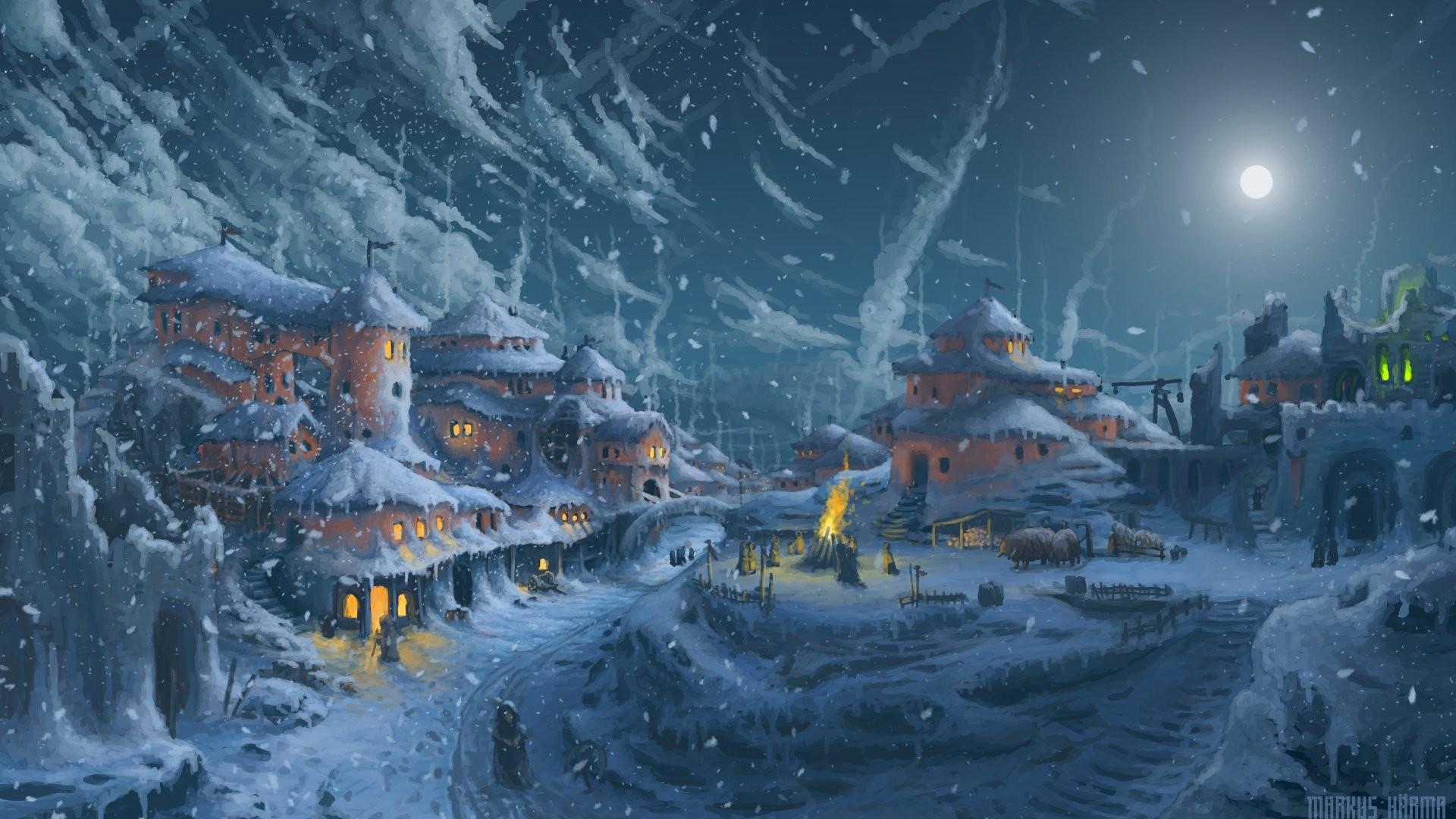 デスクトップ壁紙 : ライト, ペインティング, デジタルアート, ファンタジーアート, 夜, 建築, 建物, 雪 ...