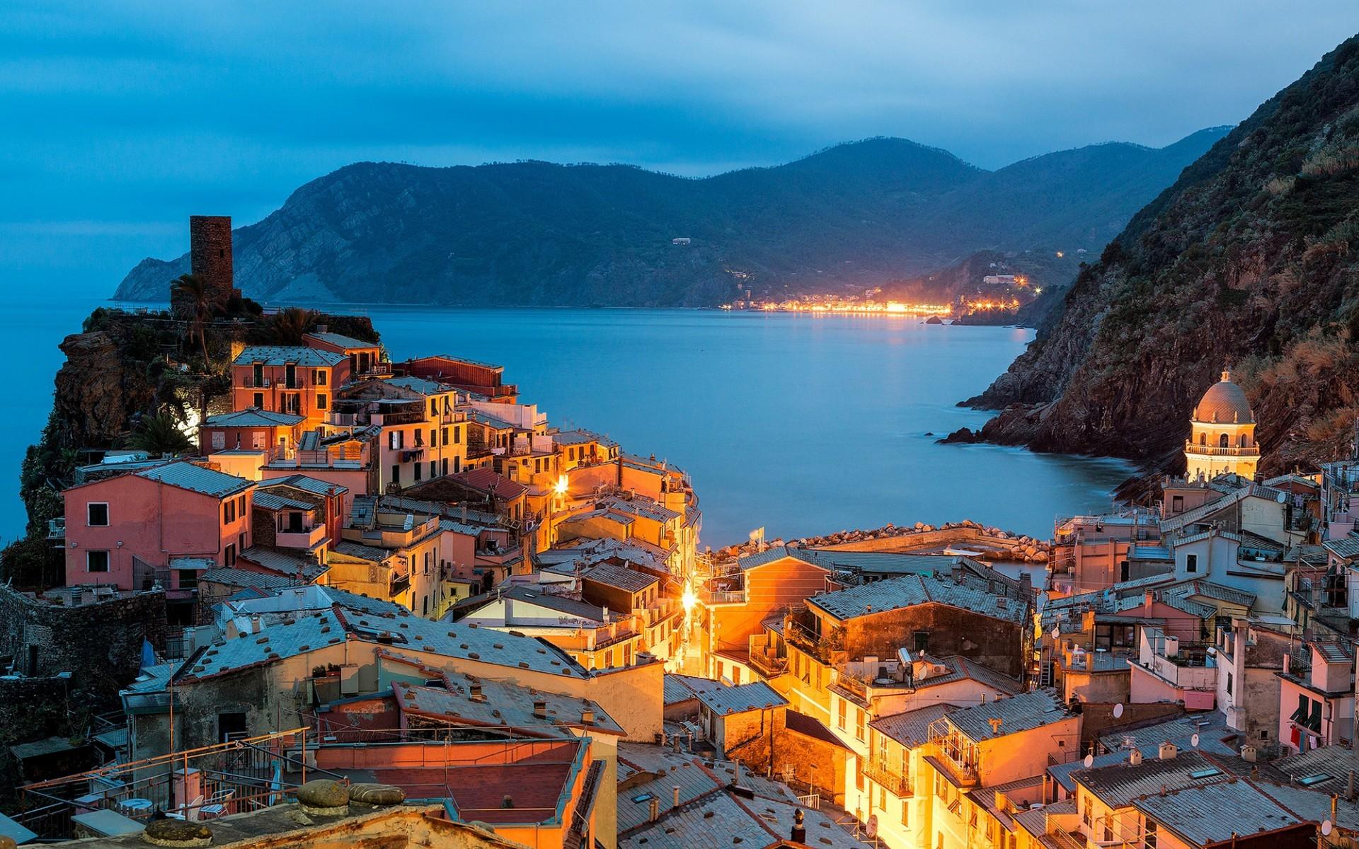 Beleuchtung Terre | Hintergrundbilder Beleuchtung Meer Stadtbild Italien Bucht