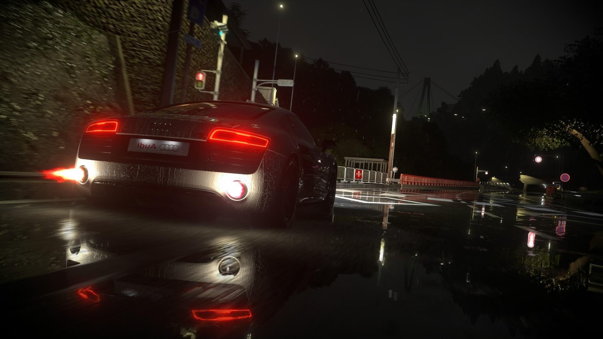 wallpaper lights video games night car vehicle rain road evening traffic v10 engine. Black Bedroom Furniture Sets. Home Design Ideas