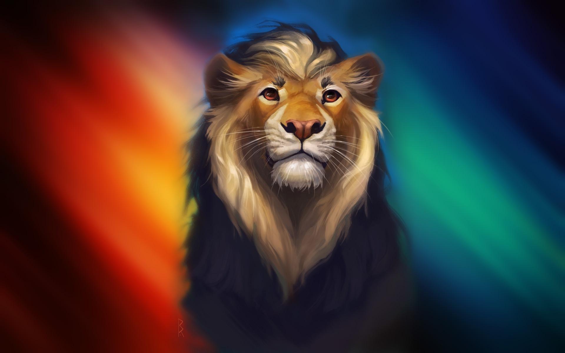 Wallpaper Lion Artwork Digital Art Colorful 1920x1200