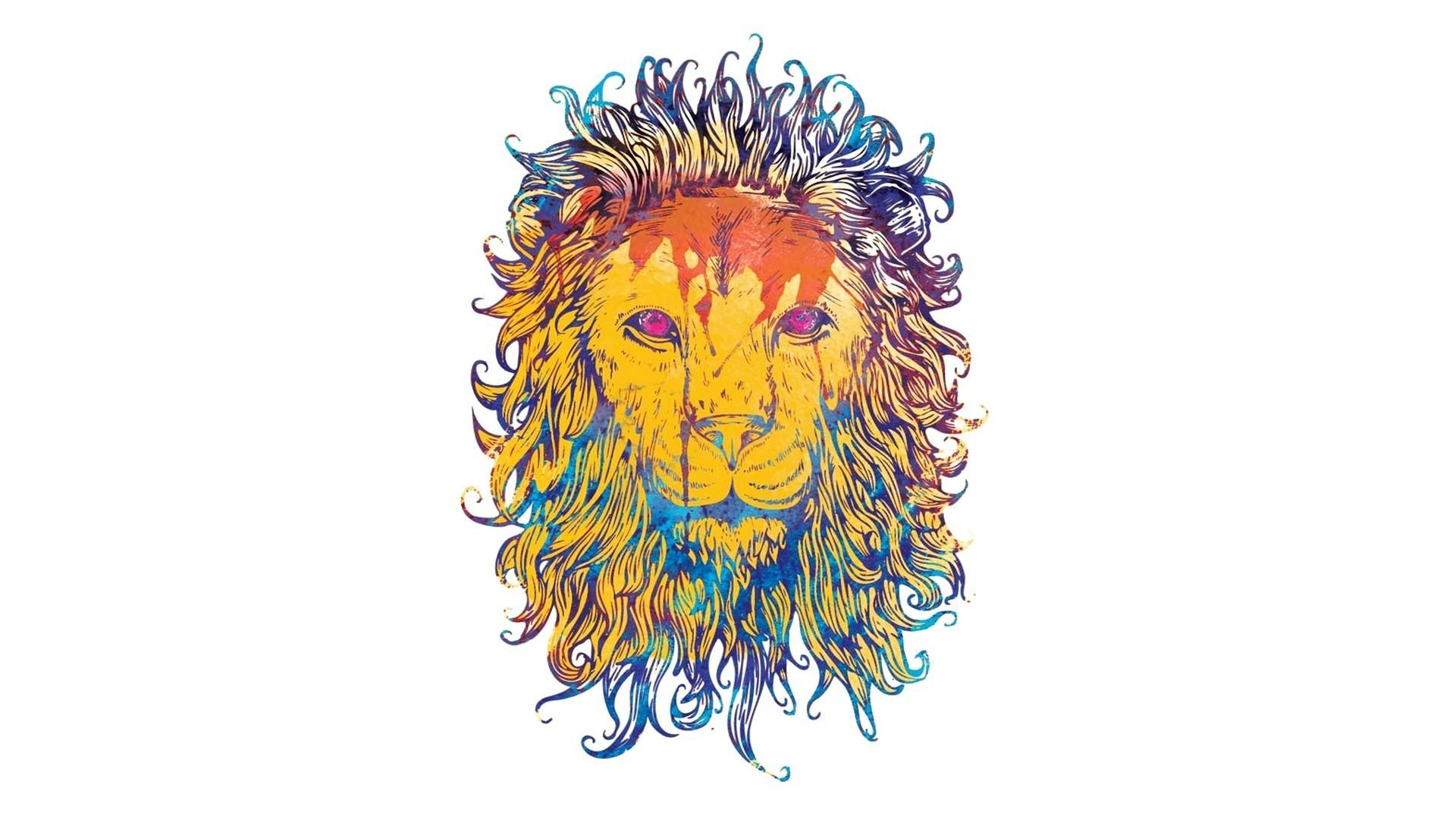 Fond d 39 cran lion dessin color roi des b tes - Dessin colore ...