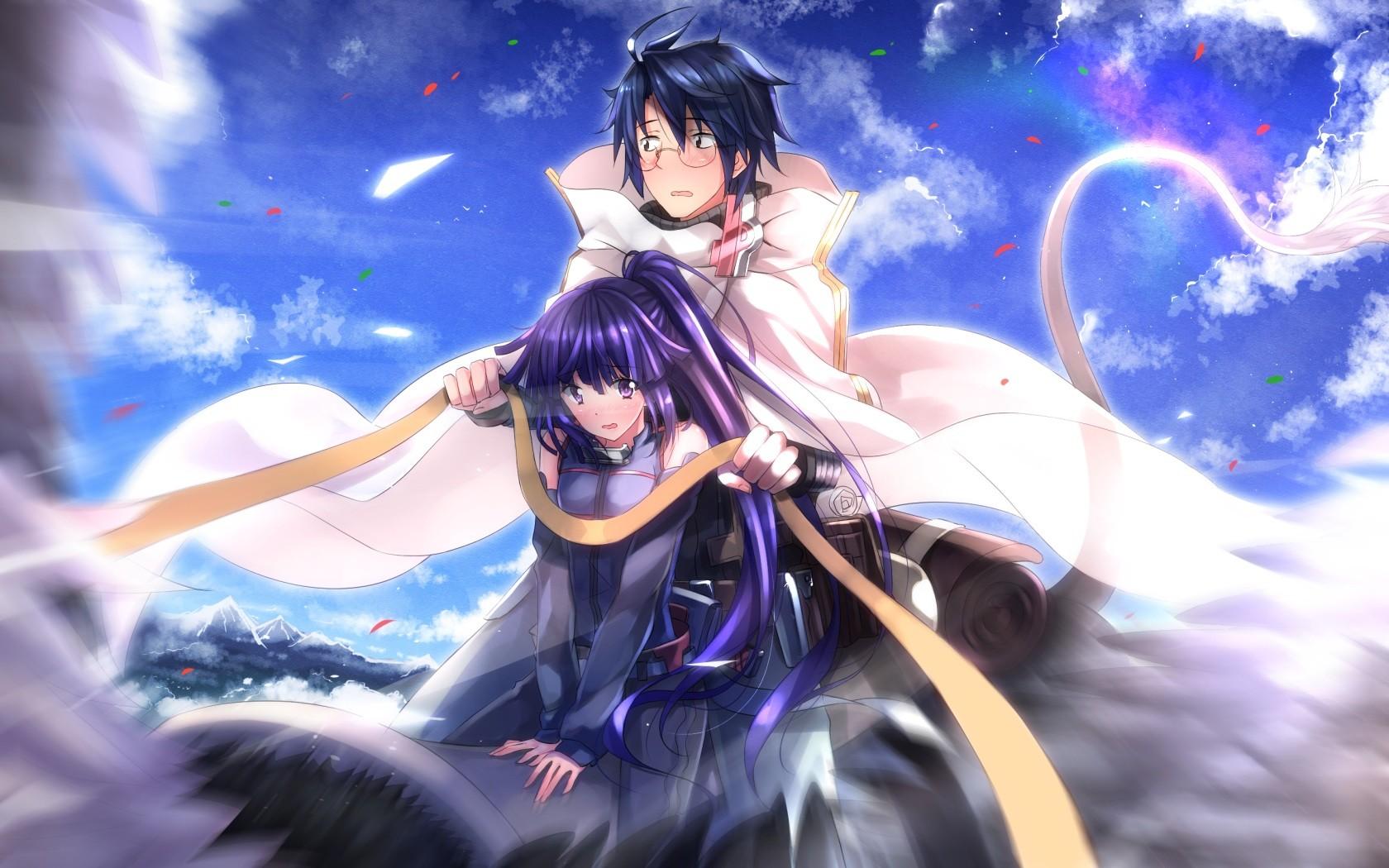 Wallpaper long hair anime girls anime boys glasses purple hair dark hair ponytail blushing log horizon purple eyes swordsouls mythology