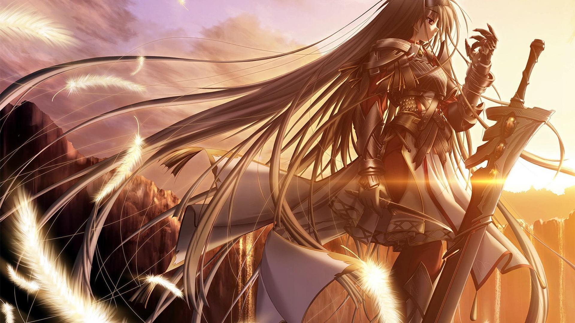 デスクトップ壁紙 長い髪 アニメの女の子 鎧 銀髪 赤い目 剣