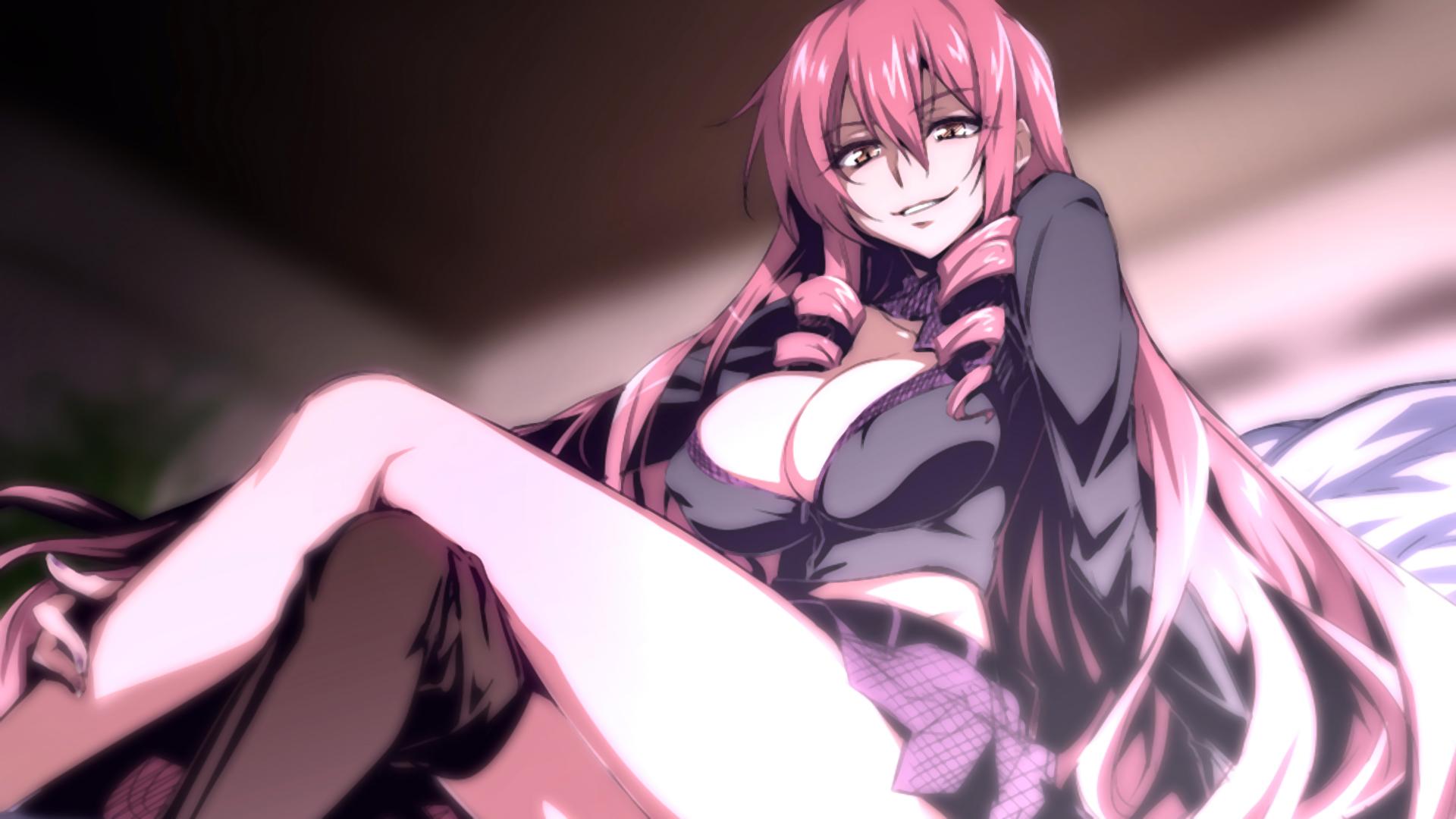 Wallpaper  Long Hair, Anime Girls, Big Boobs, Cleavage, Skirt, Pink Hair, Pink Eyes -6620