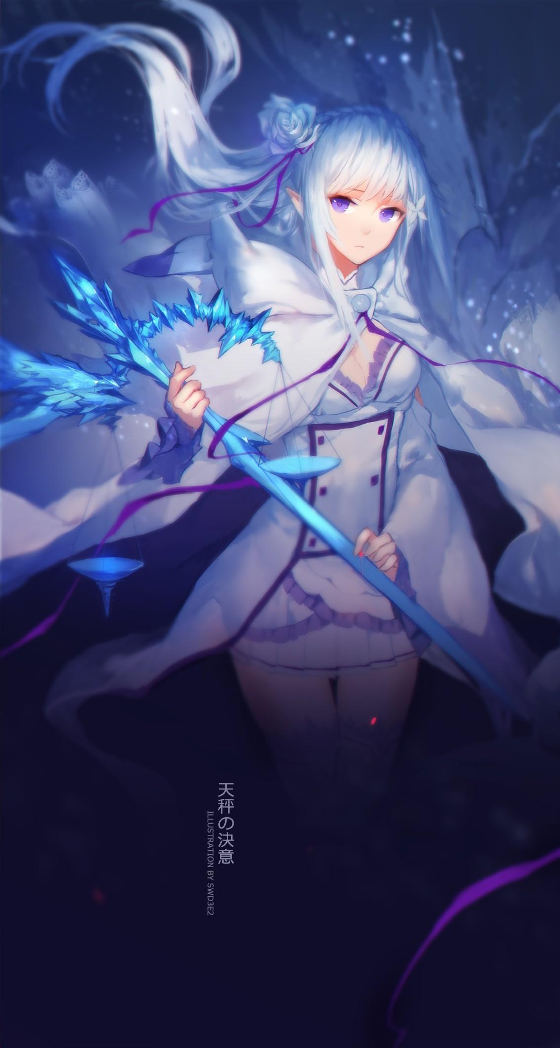 デスクトップ壁紙 長い髪 アニメの女の子 青い髪 武器 エミリア