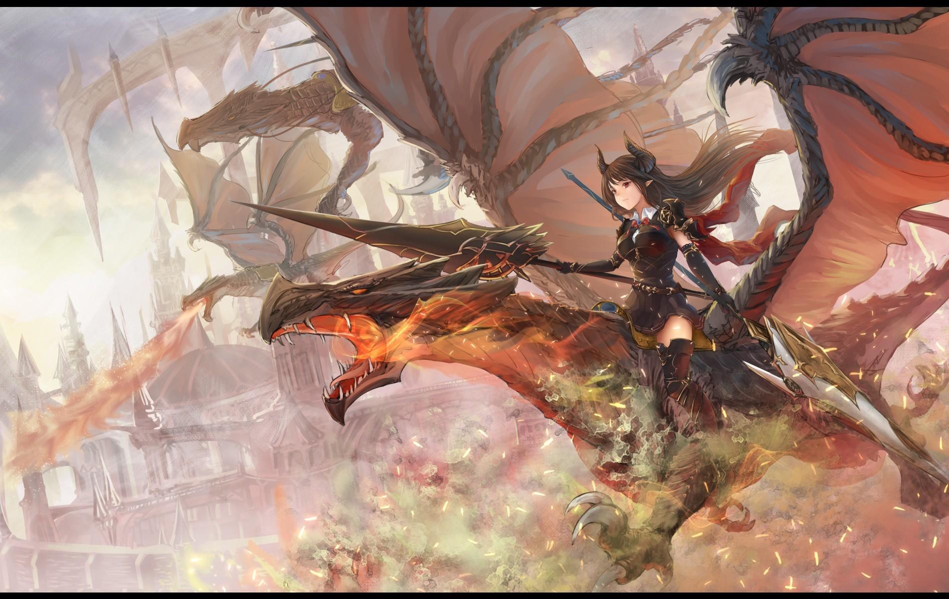 デスクトップ壁紙 長い髪 アニメの女の子 武器 角 火災 鎧