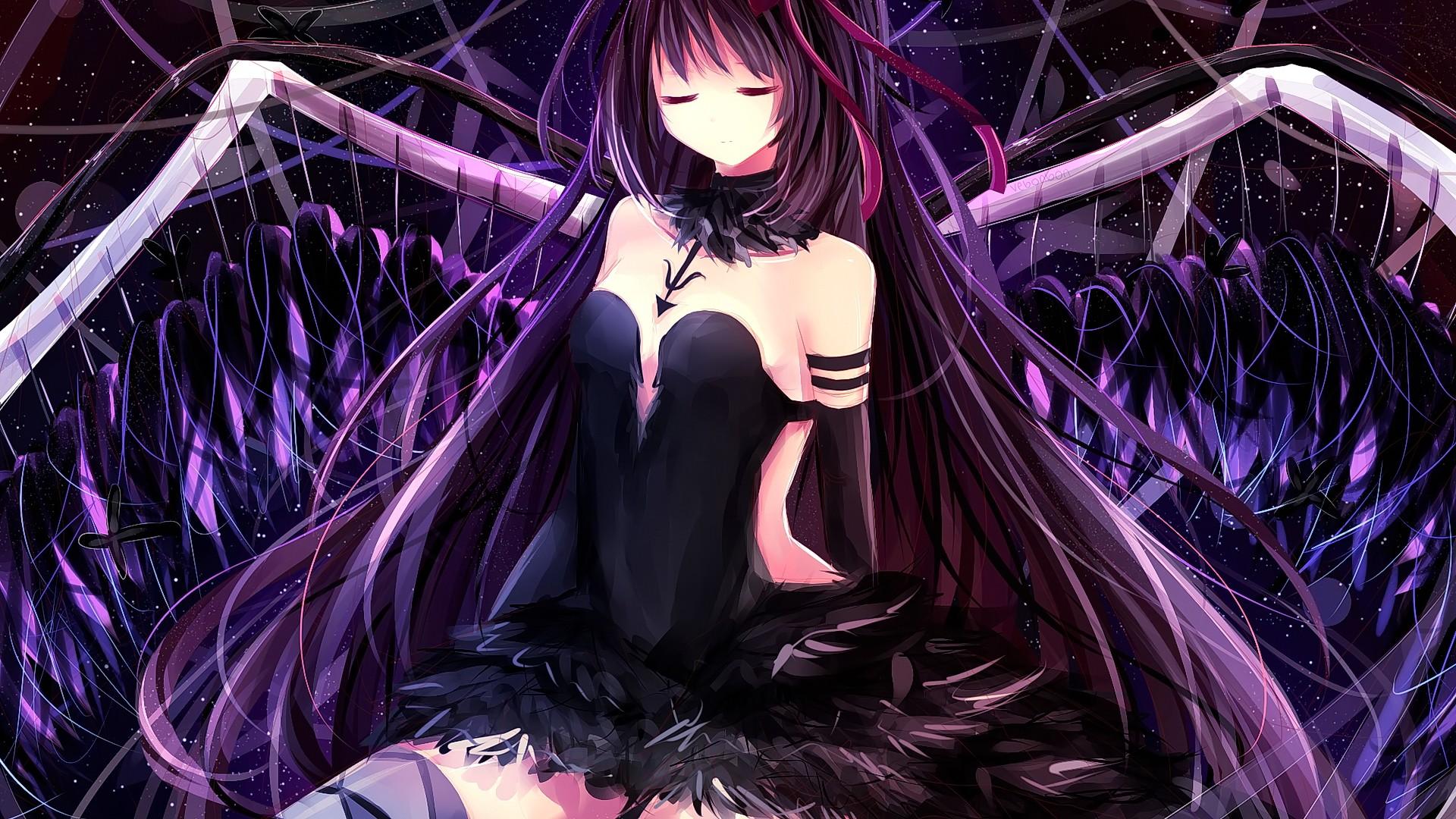 wallpaper hair closed anime mahou