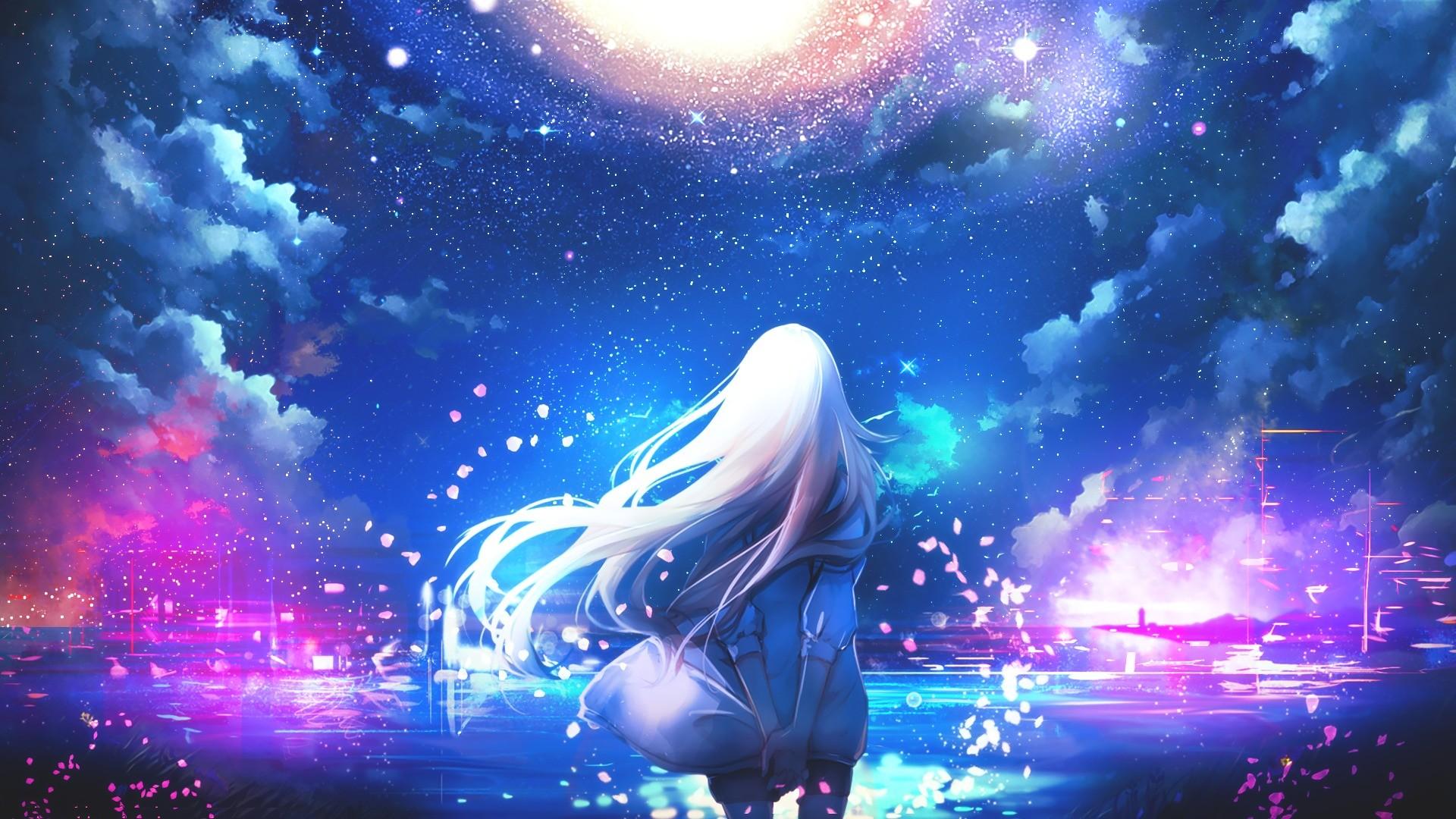 Wallpaper : Long Hair, White Hair, Anime Girls, Sky, Stars