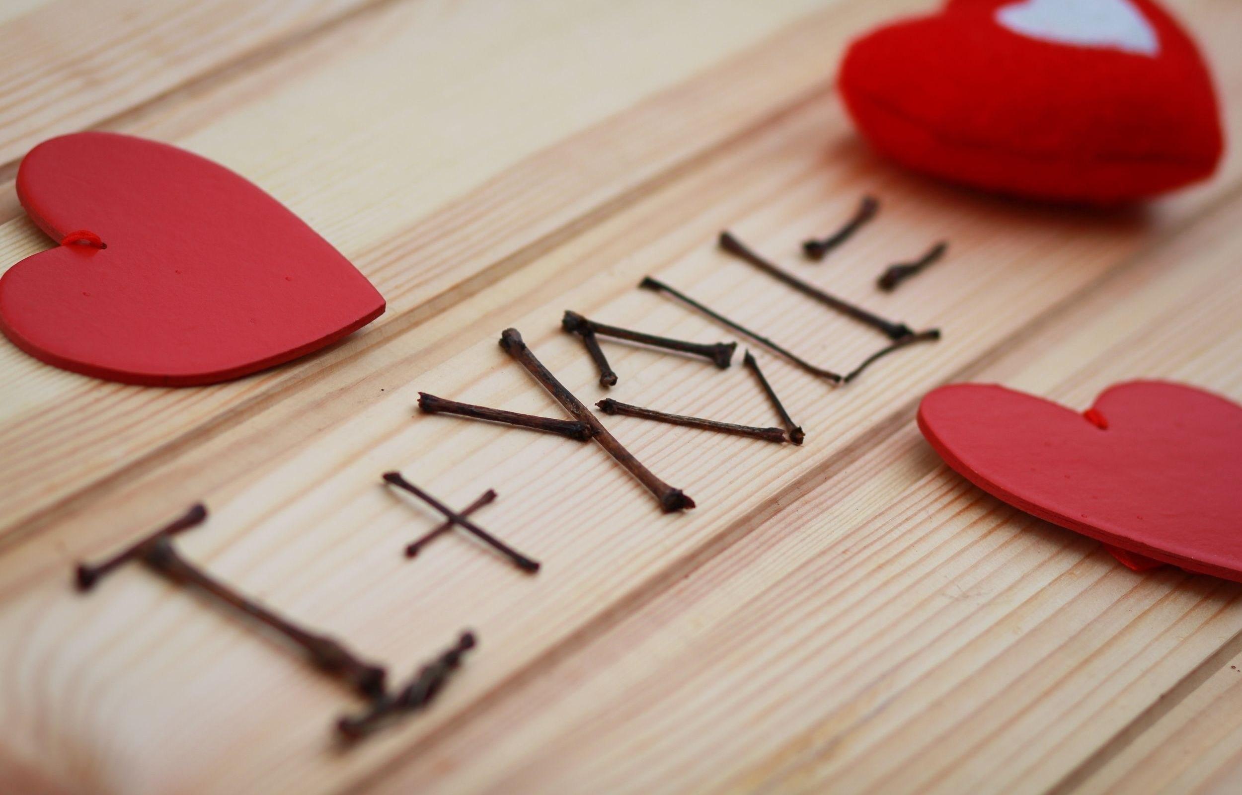 Wallpaper Love Heart Red Sticks Valentine S Day Pink