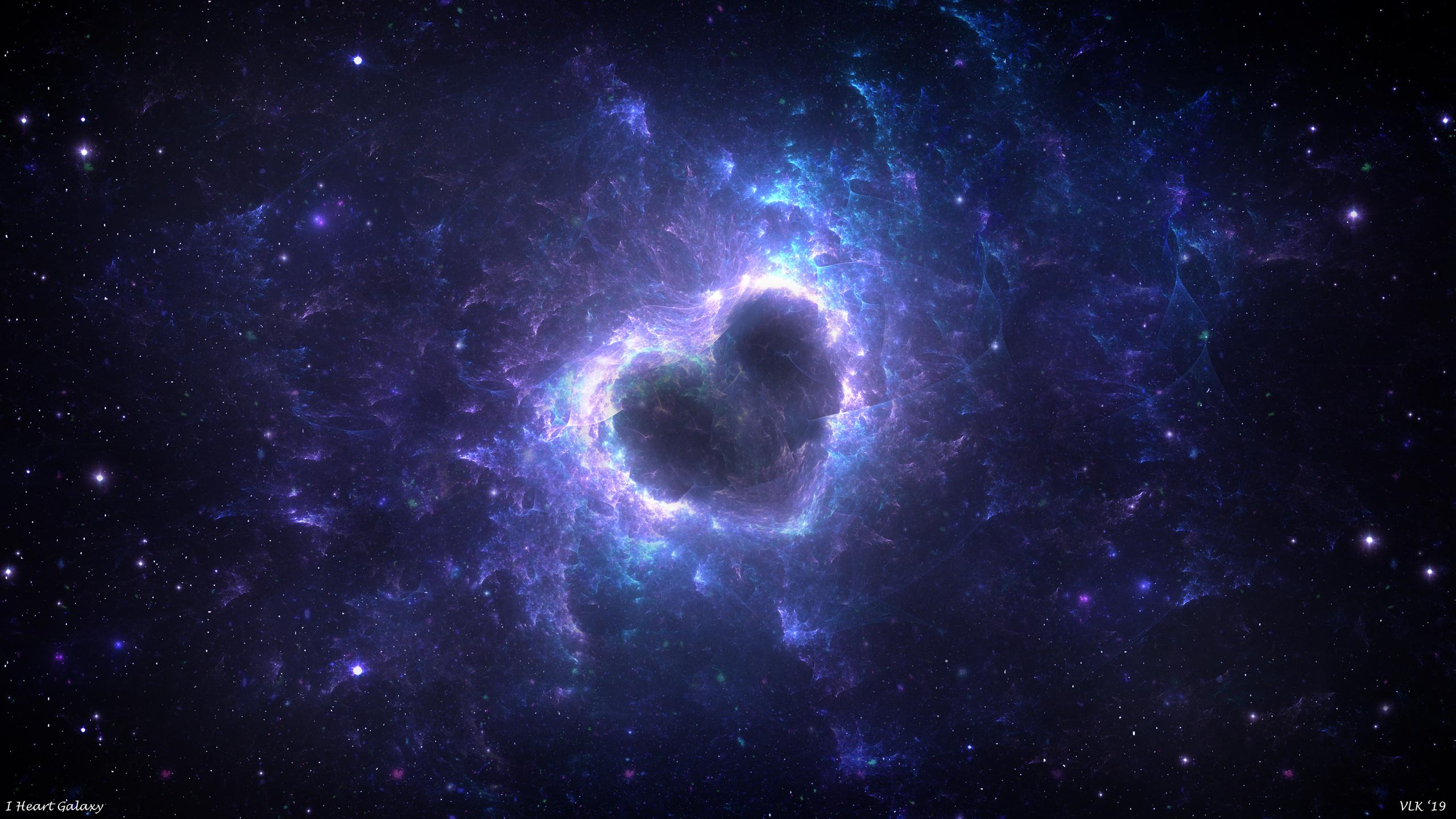 Wallpaper Love Heart Space Stars Galaxy Fractal