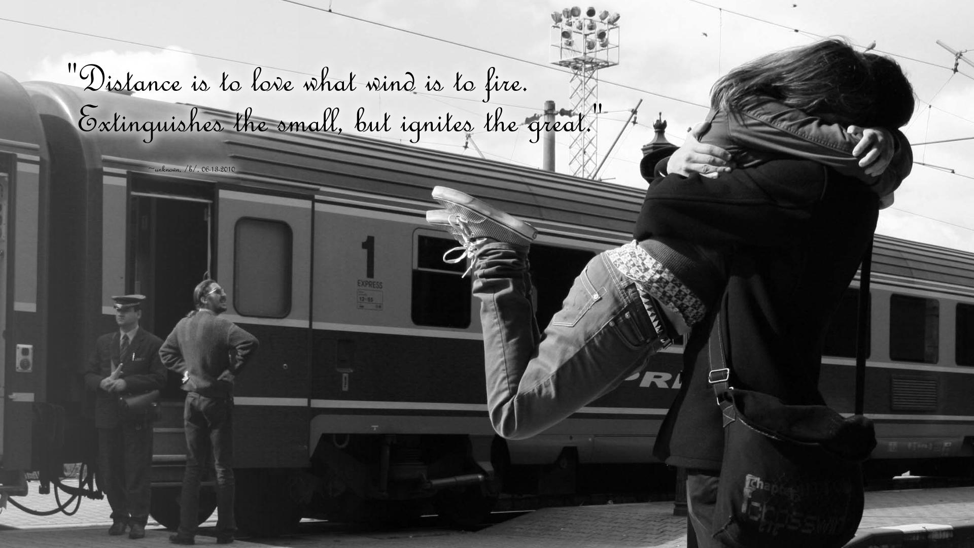 Love situation meet train black white