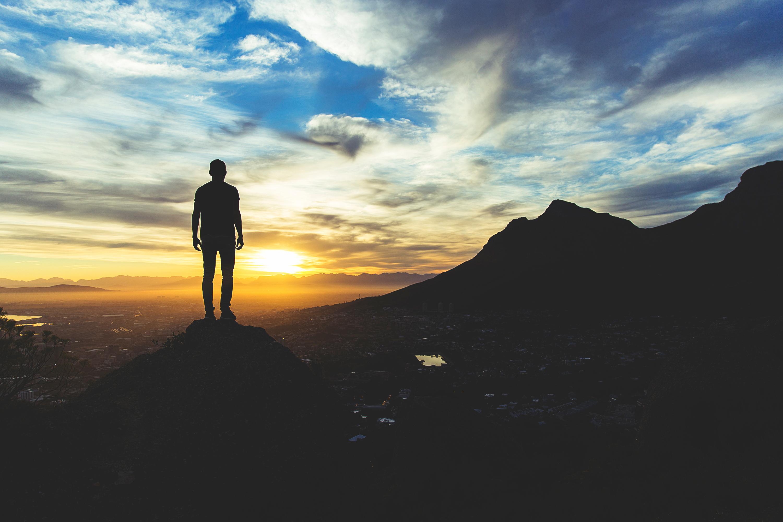 Man Sunset Sky Hill Freedom