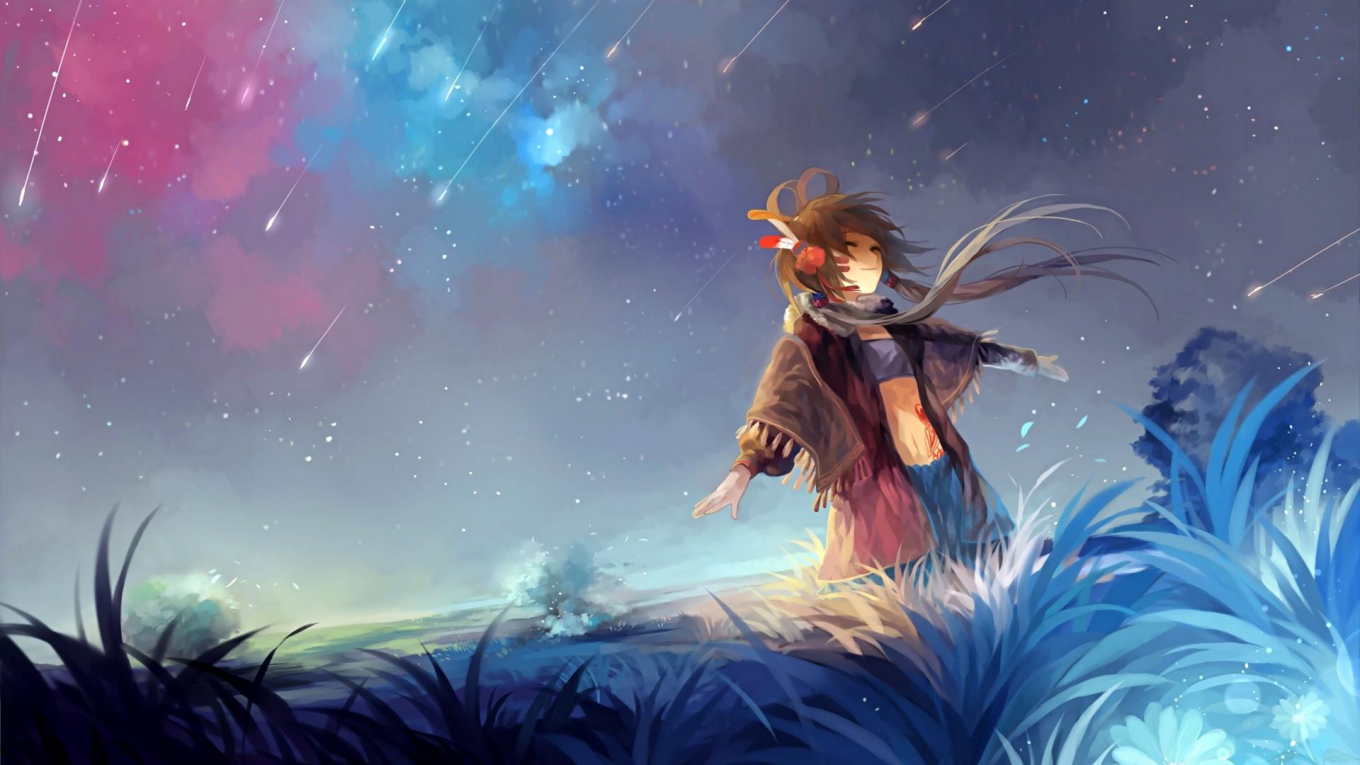 Fond d'écran : Manga, Filles anime, ciel, paysage, étoiles, Anime, venteux, Luo Tianyi, RPG ...