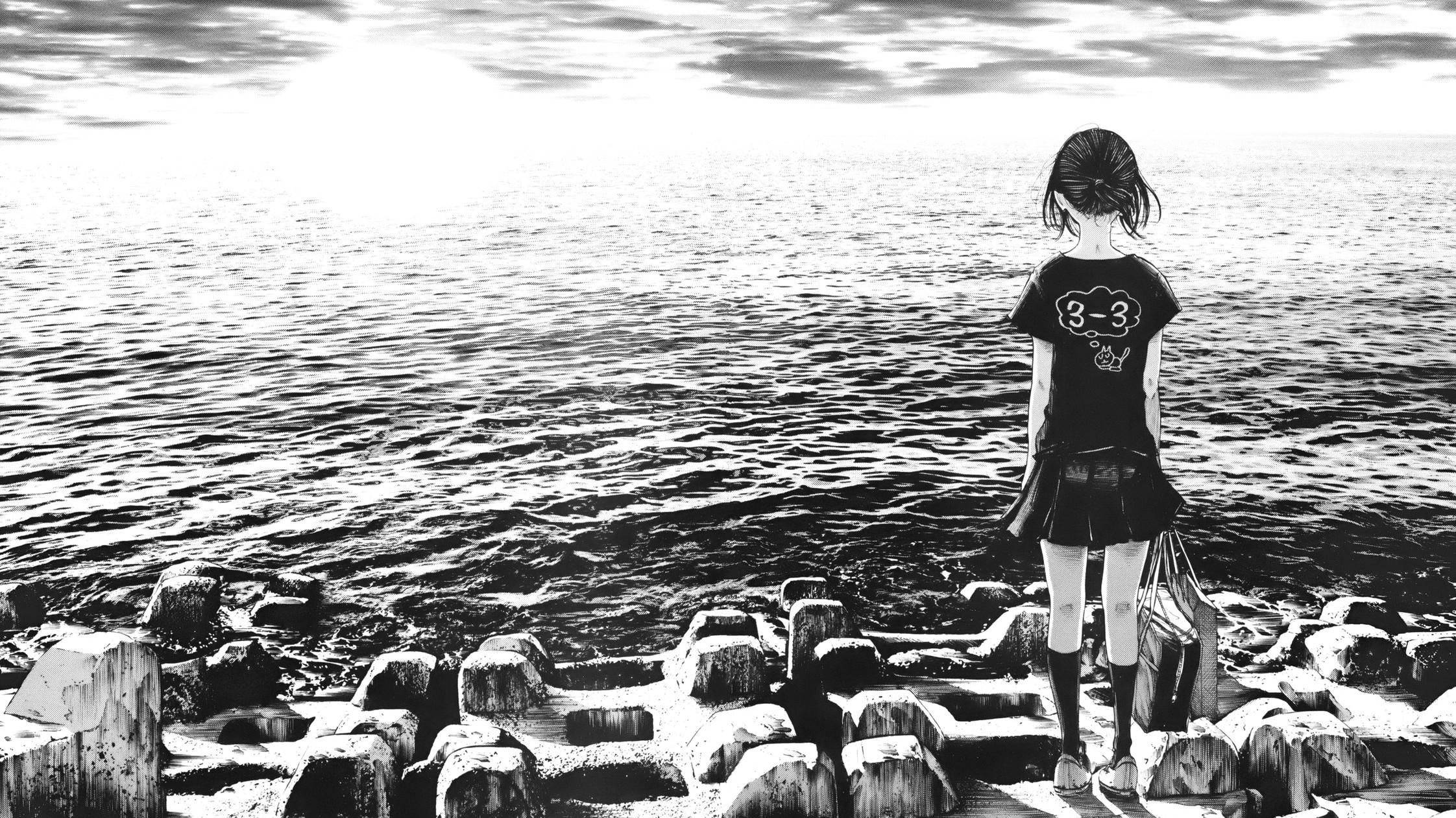 Wallpaper manga satu warna laut wanita gambar