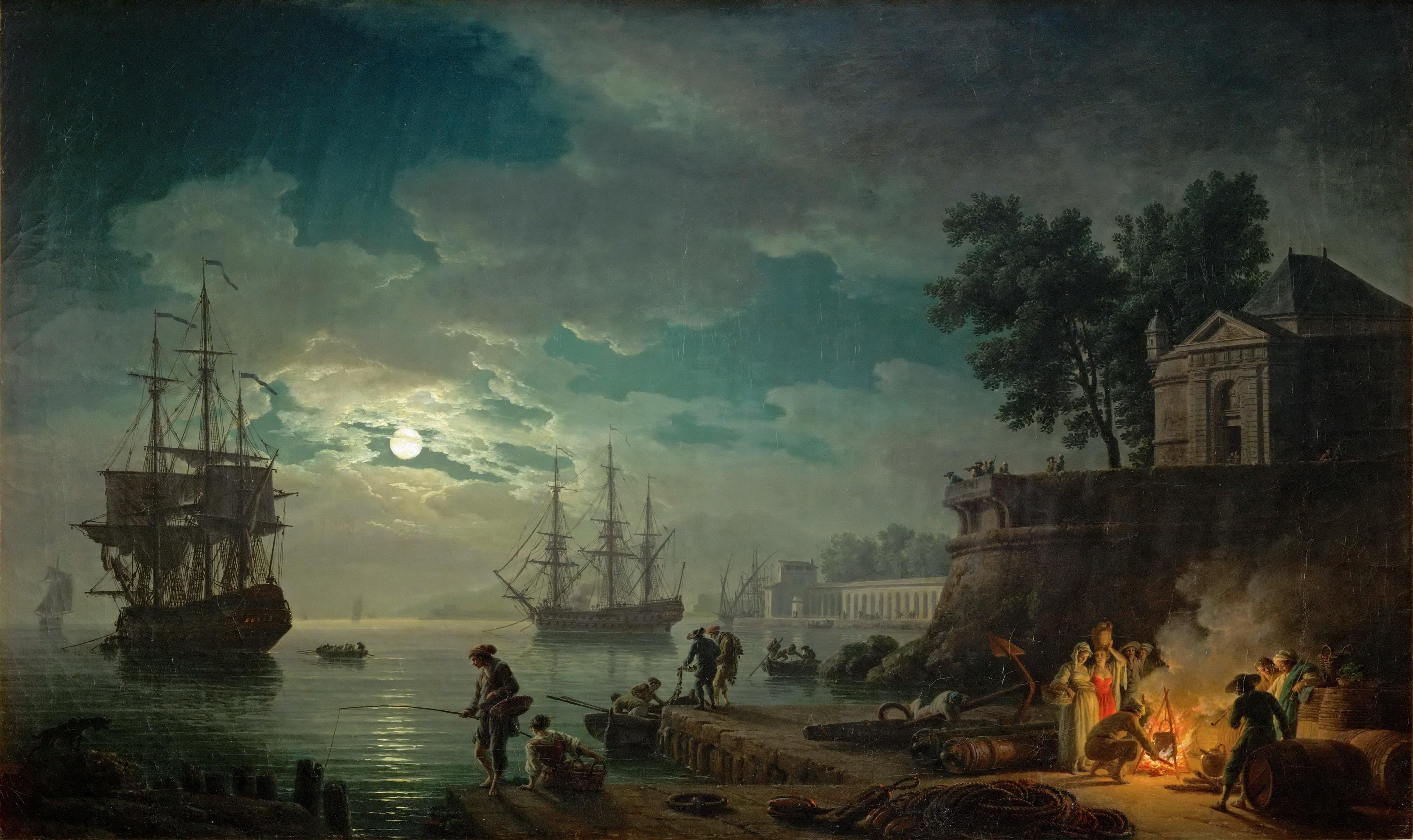 Wallpaper : men, painting, people, boat, sailing ship, women