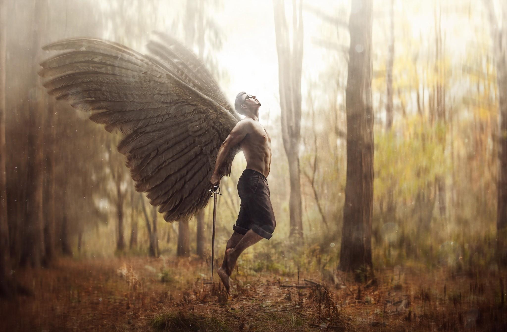 красивые места, фото человек с крыльями речку