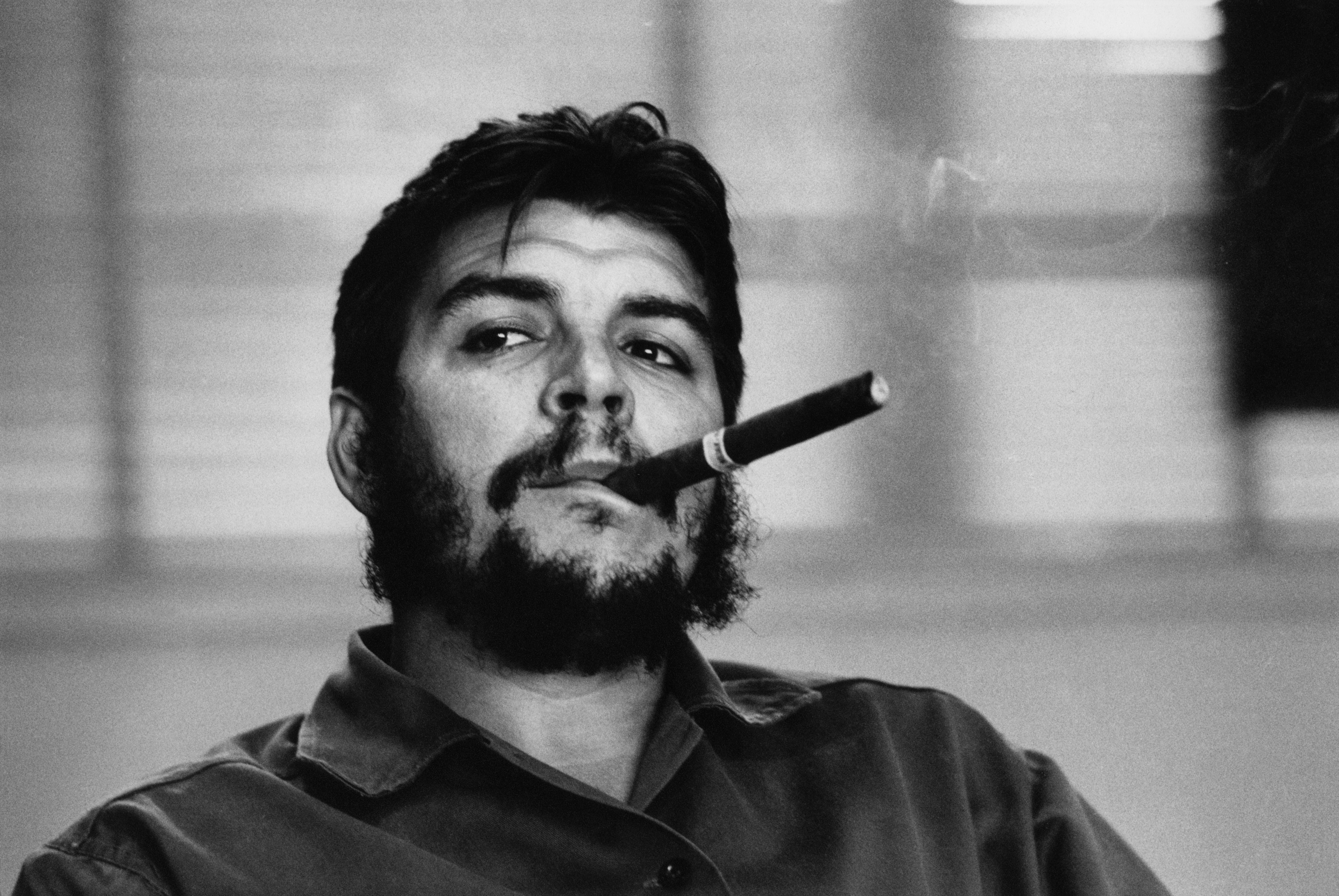 men white black monochrome portrait photography hair moustache revolutionary Che Guevara Argentina cigars Cuba man beard