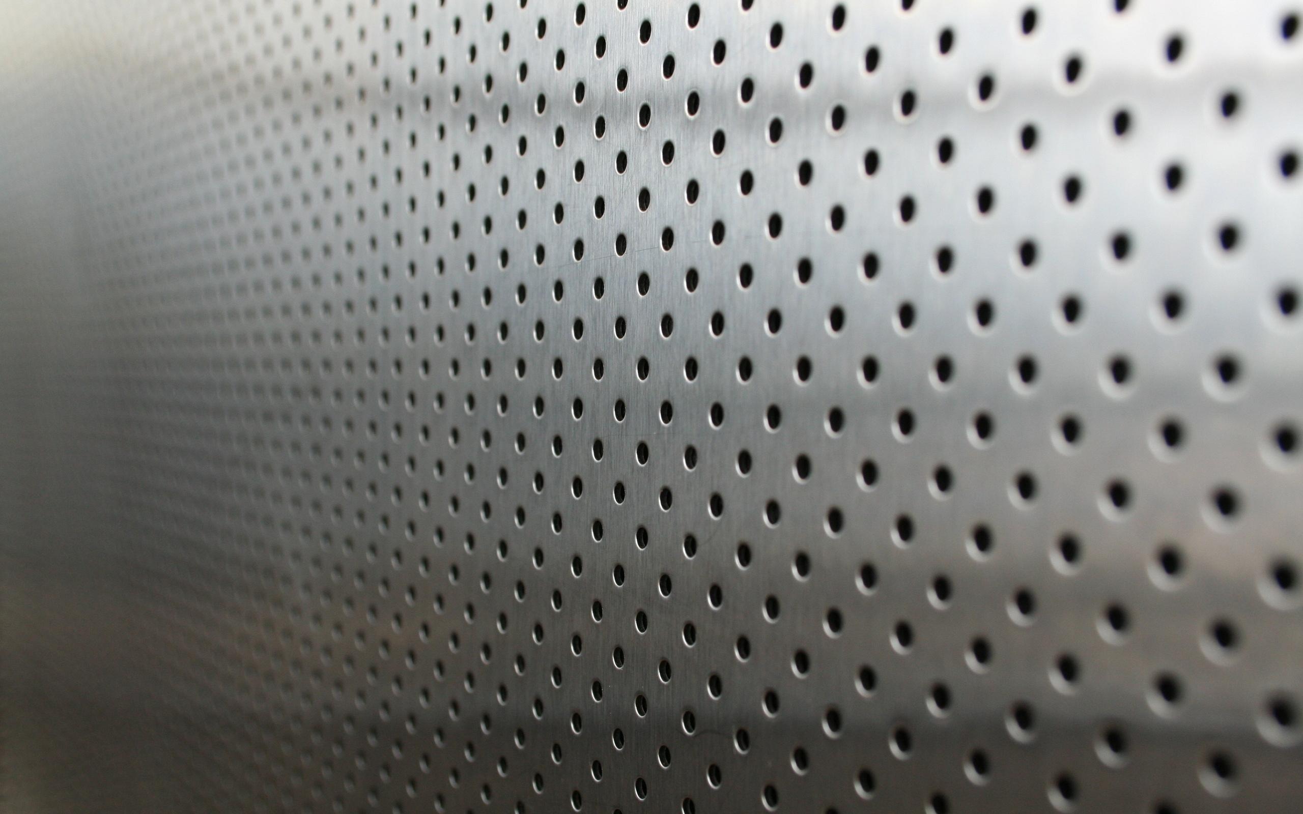 Masaüstü Metal Puan Delikler Gümüş Arka Fon 2560x1600