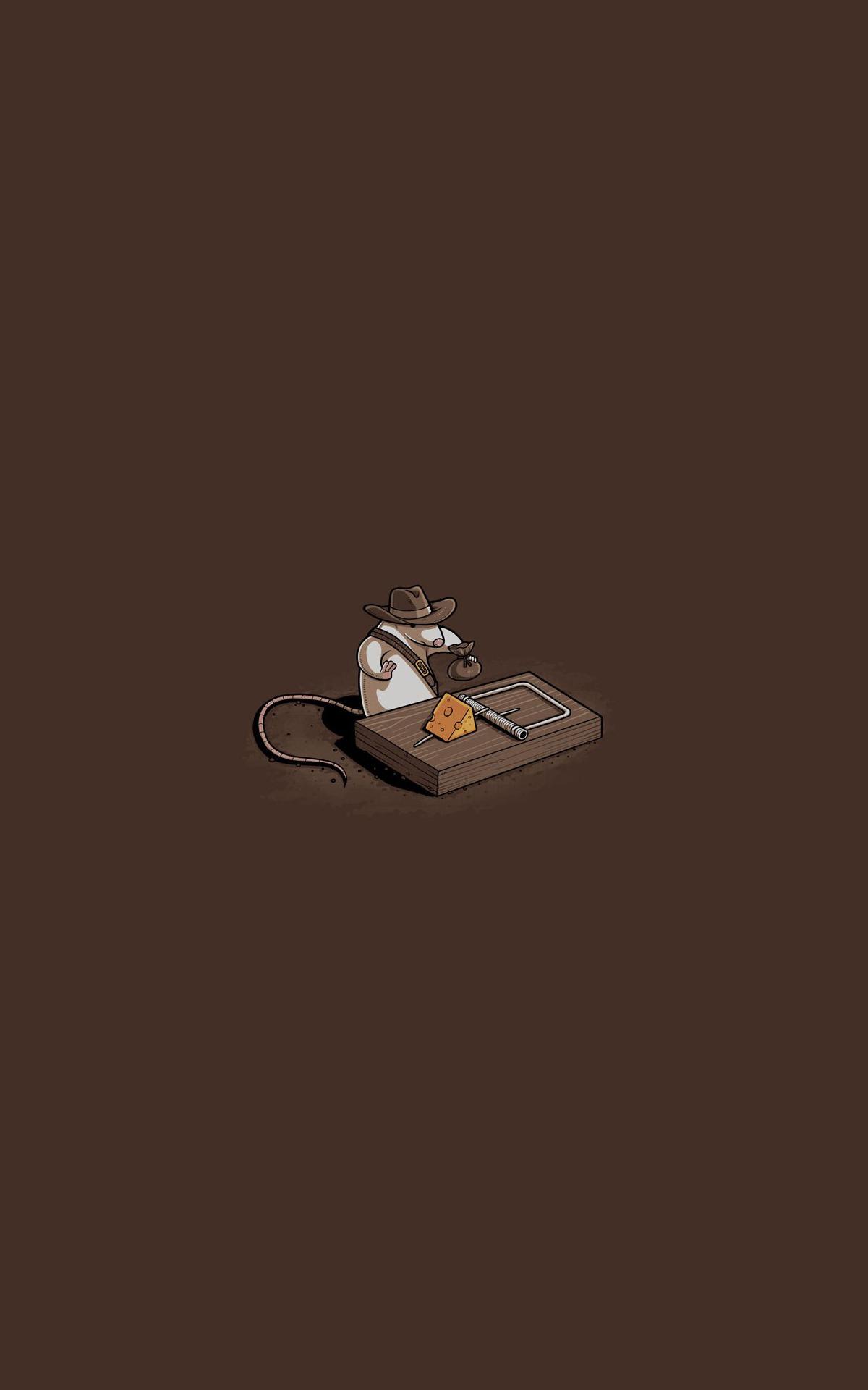 mice Indiana Jones humor parody minimalism portrait display