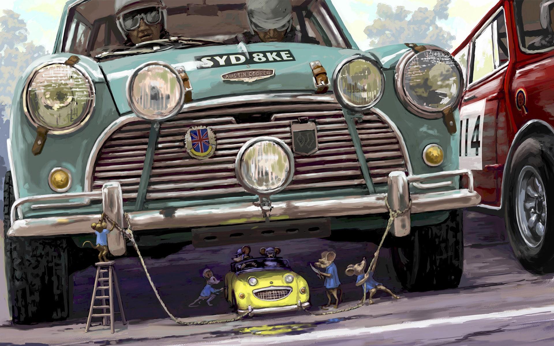 Wallpaper Mice Humor Artwork Laughing Vintage Car Mini Cooper