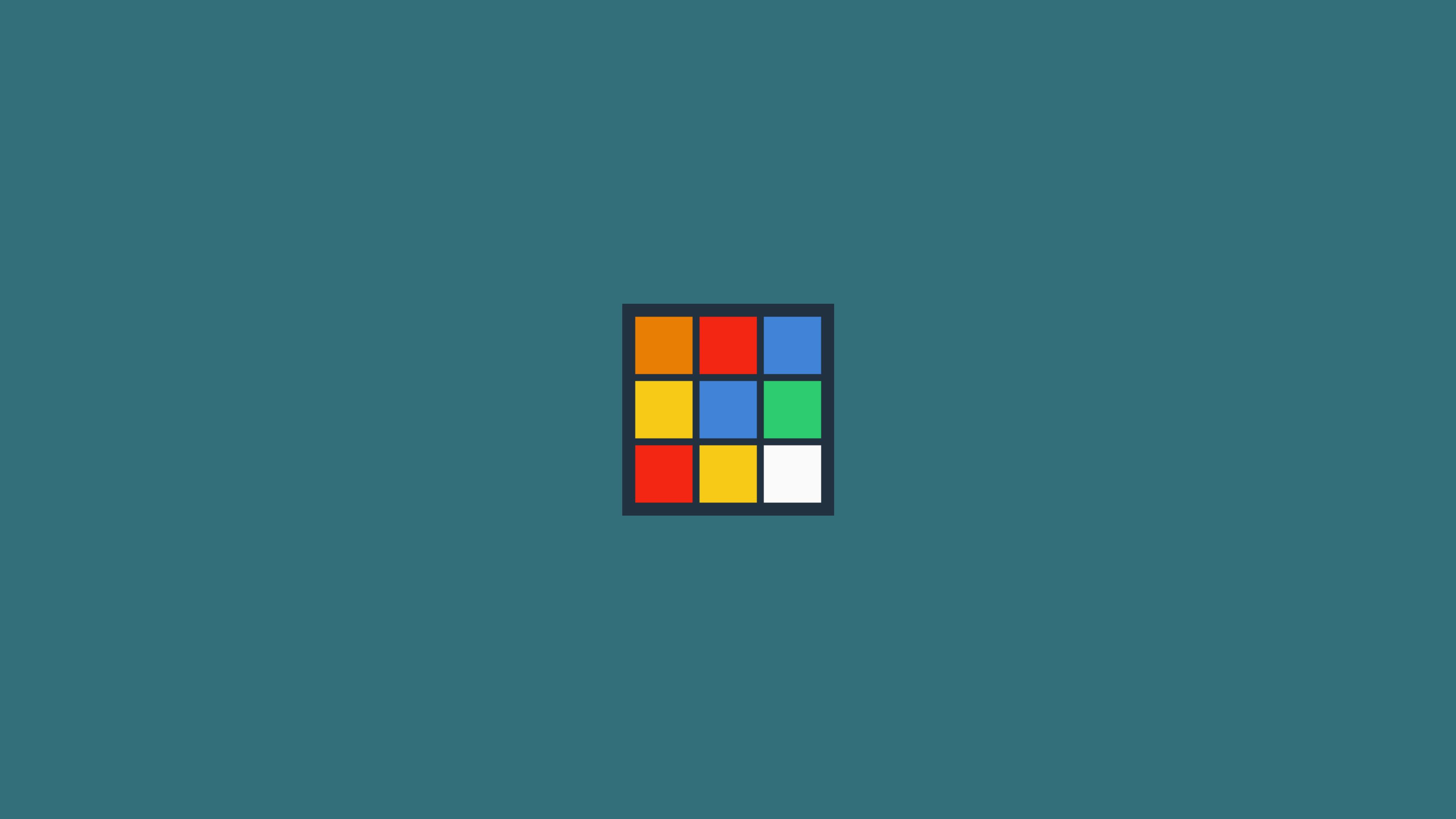 Wallpaper Minimalism Rubik S Cube Cube Blue Background