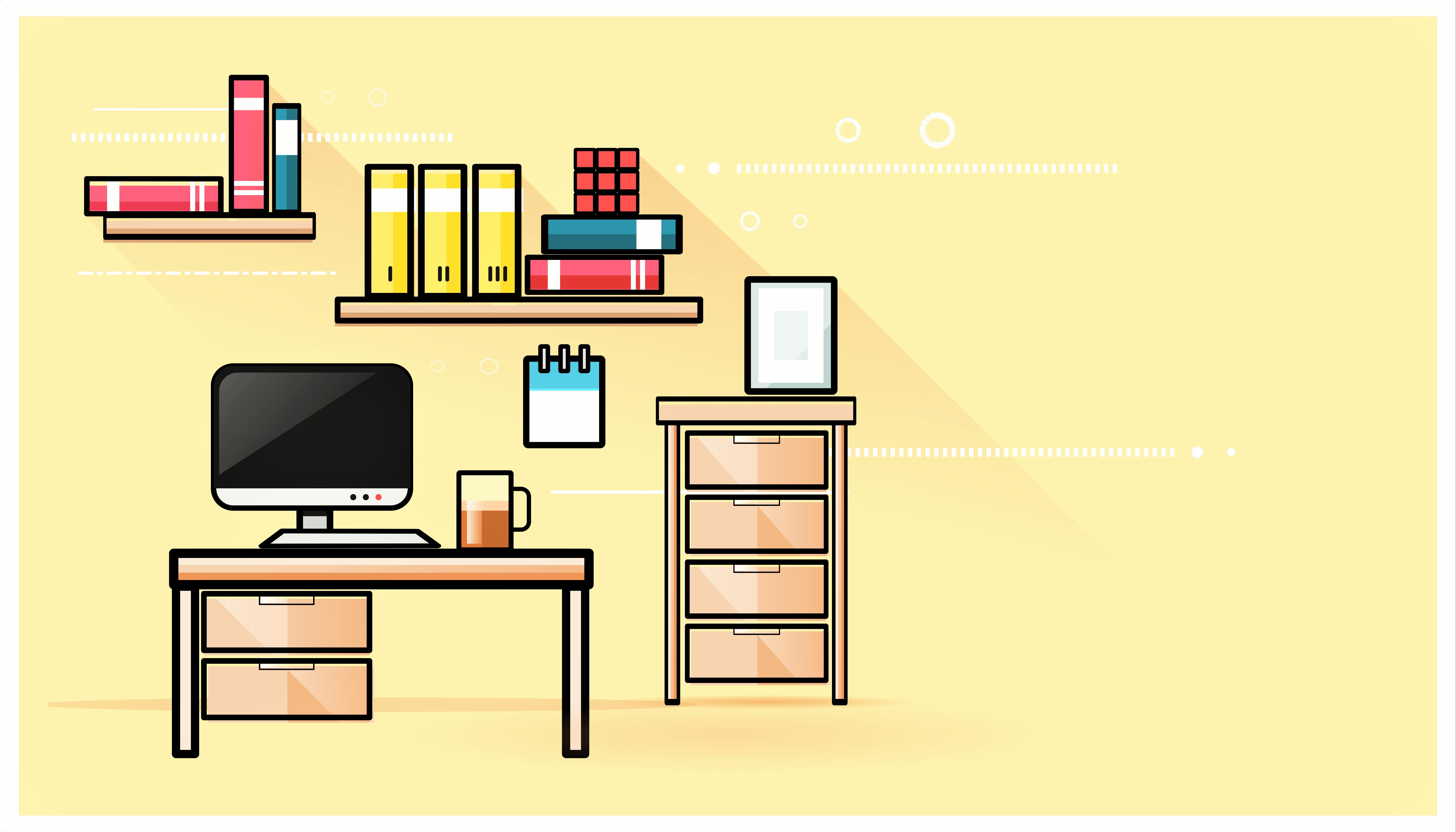 Скачать обои полки, компьютер, вектор, мебель, комната, разд.