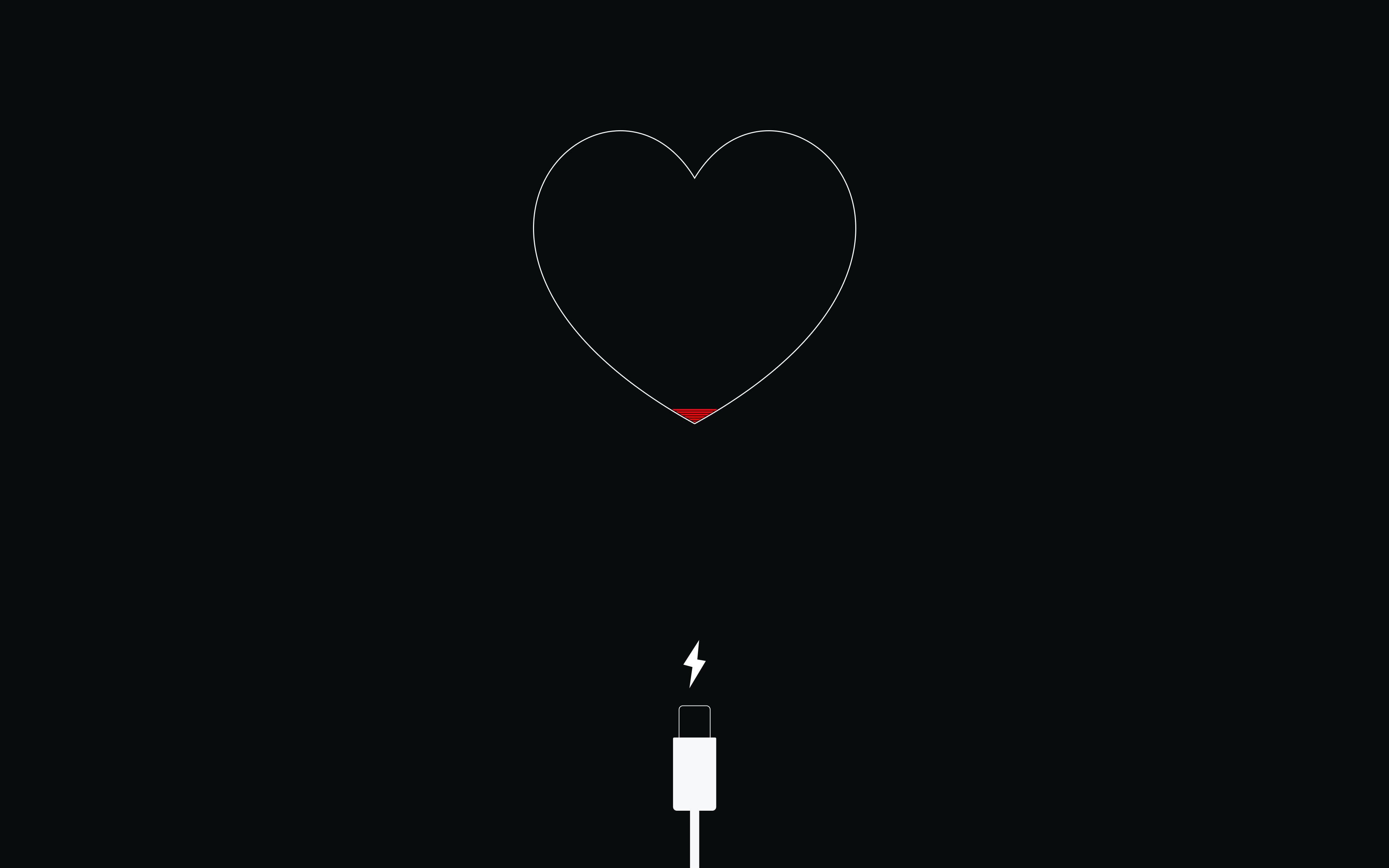 Wallpaper Minimalism Love Heart Lightning Circle Iphone