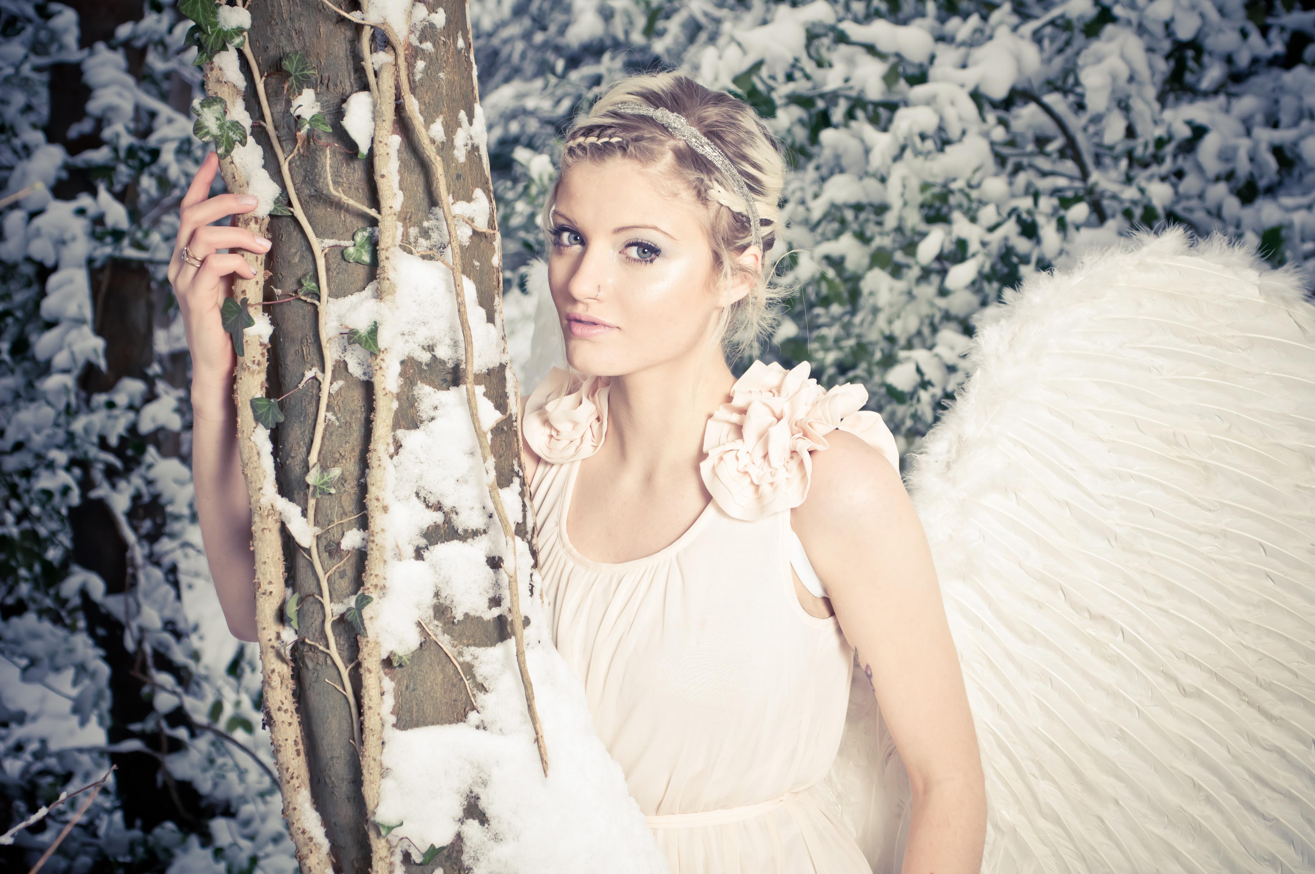 Hintergrundbilder : Modell-, blond, lange Haare, Engel, Winter ...