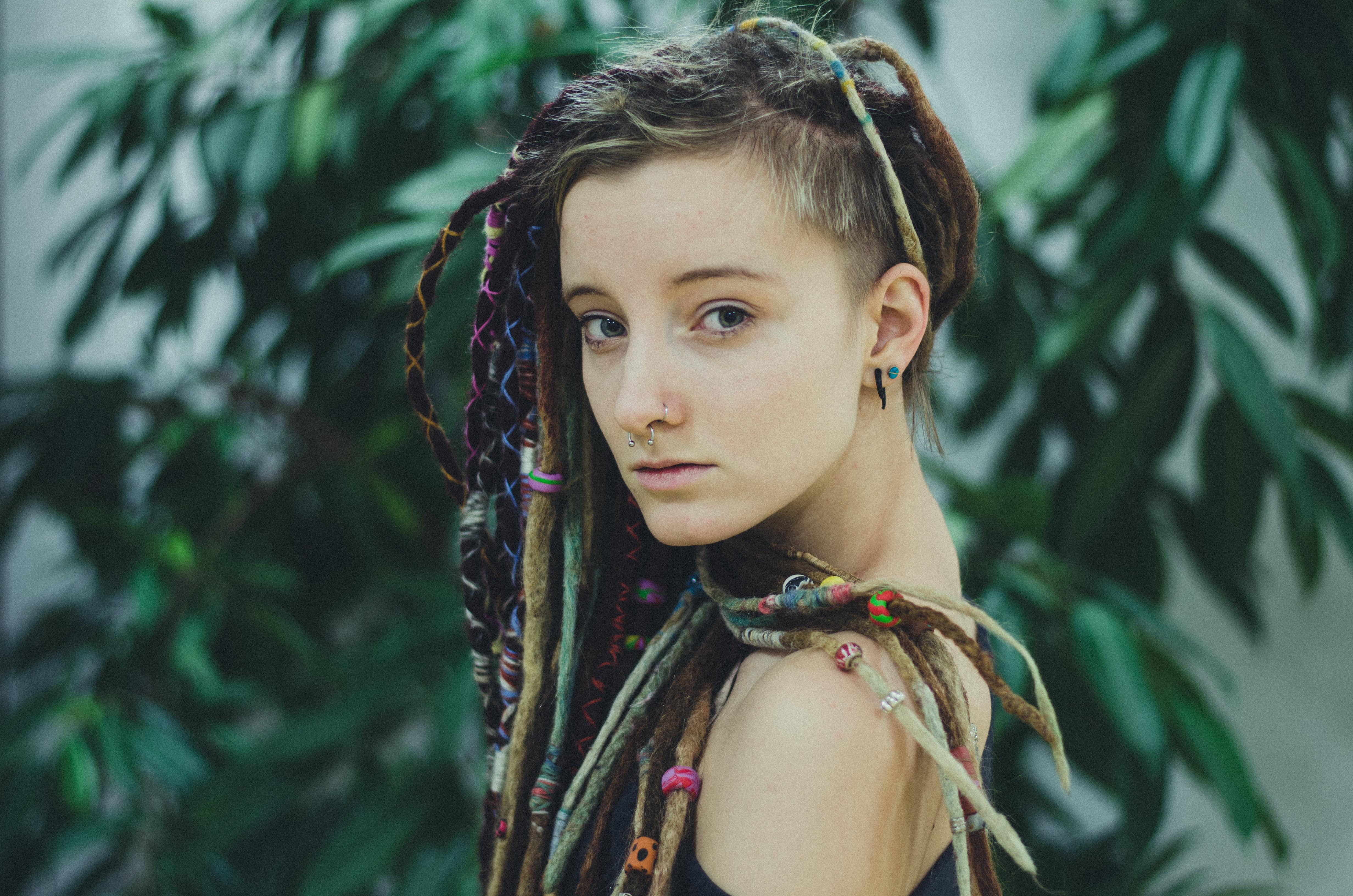 Wallpaper : model, eyes, long hair, plants, black hair, piercing ...