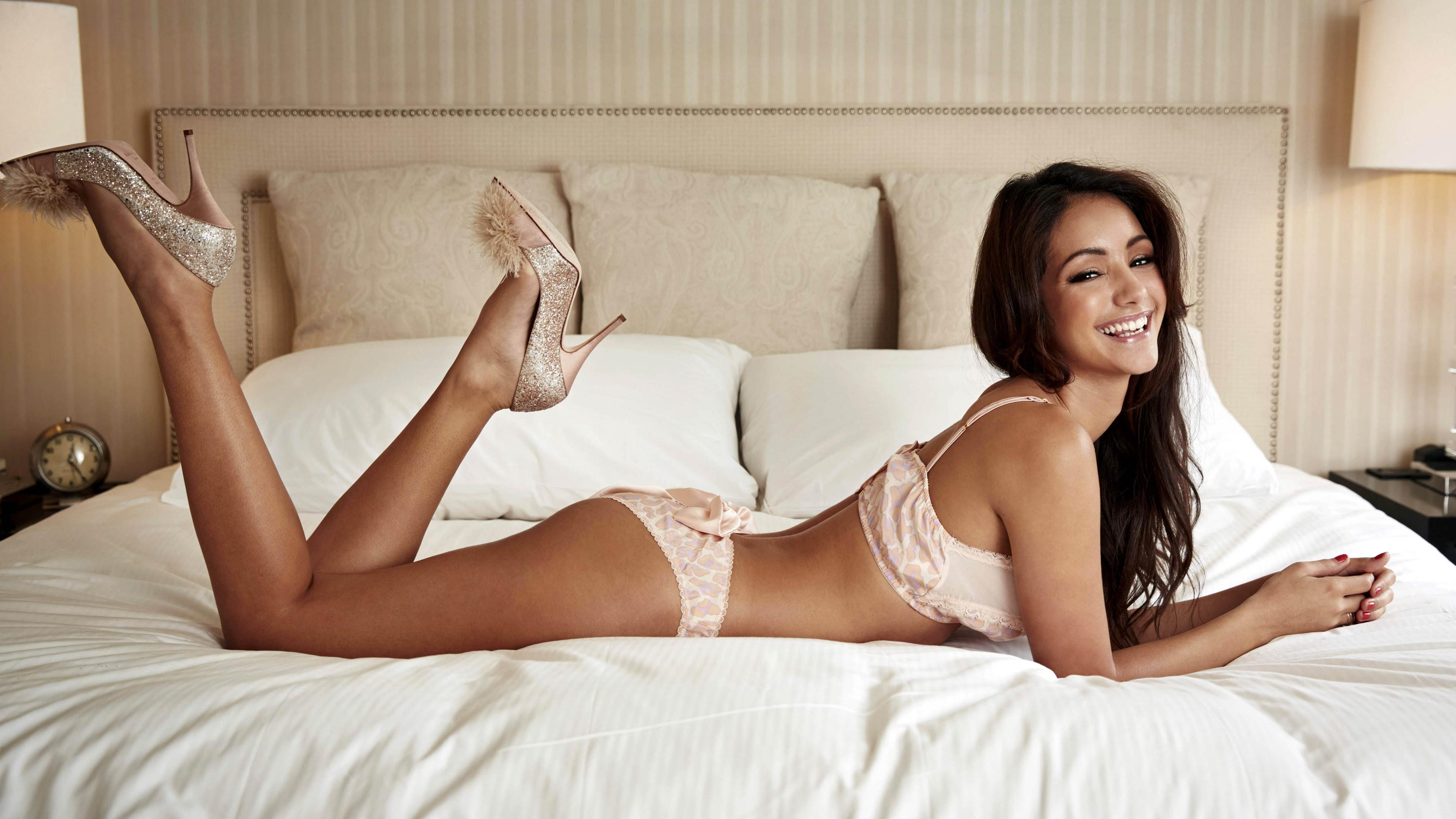 Model Long Hair Brunette Ass High Heels Smiling Black Hair Hair Lingerie  Bedroom Clothing Supermodel Melanie