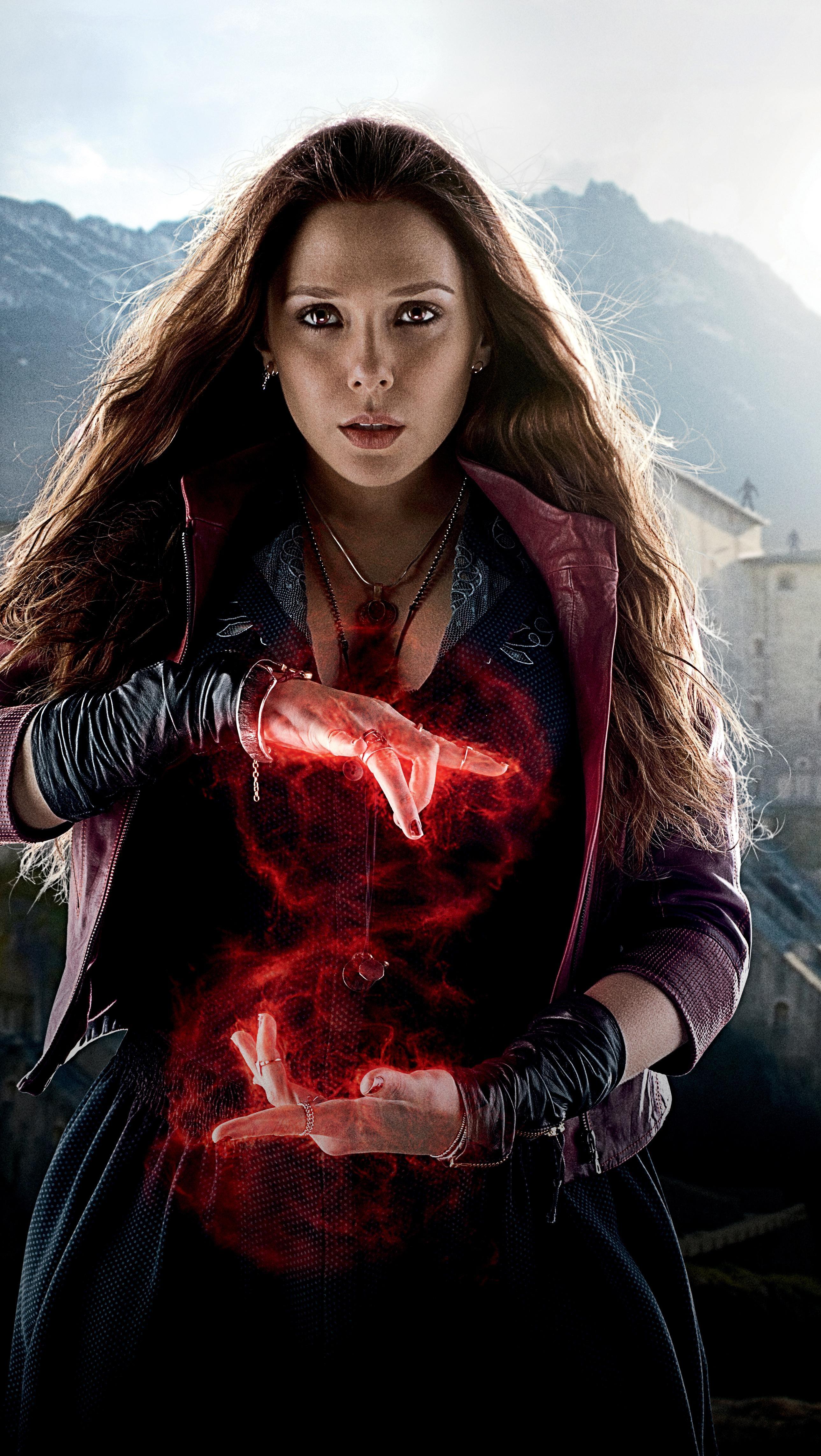 wallpaper : model, red, scarlet witch, the avengers, elizabeth olsen