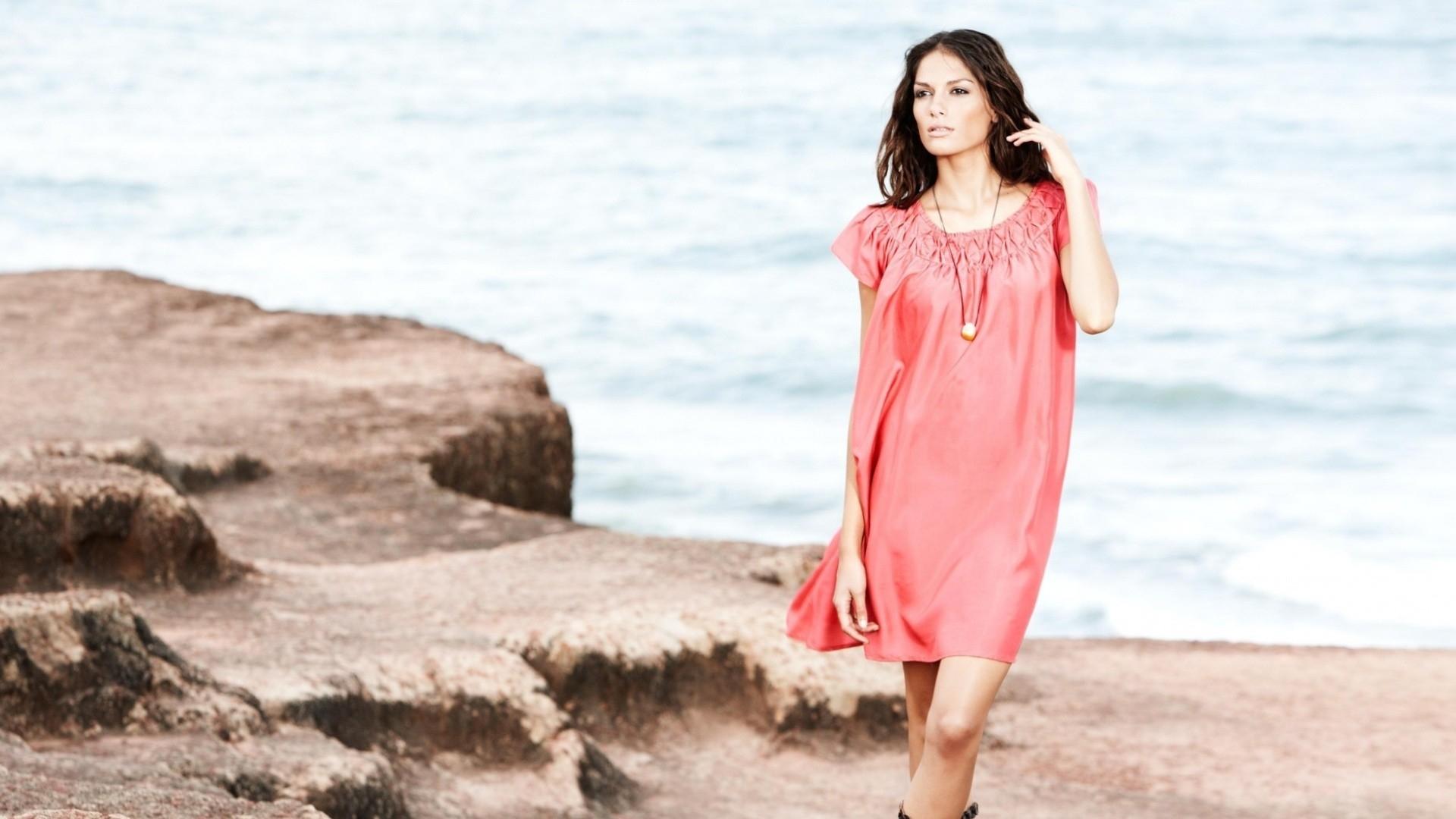 Wallpaper : sunlight, women, model, sea, sand, brunette