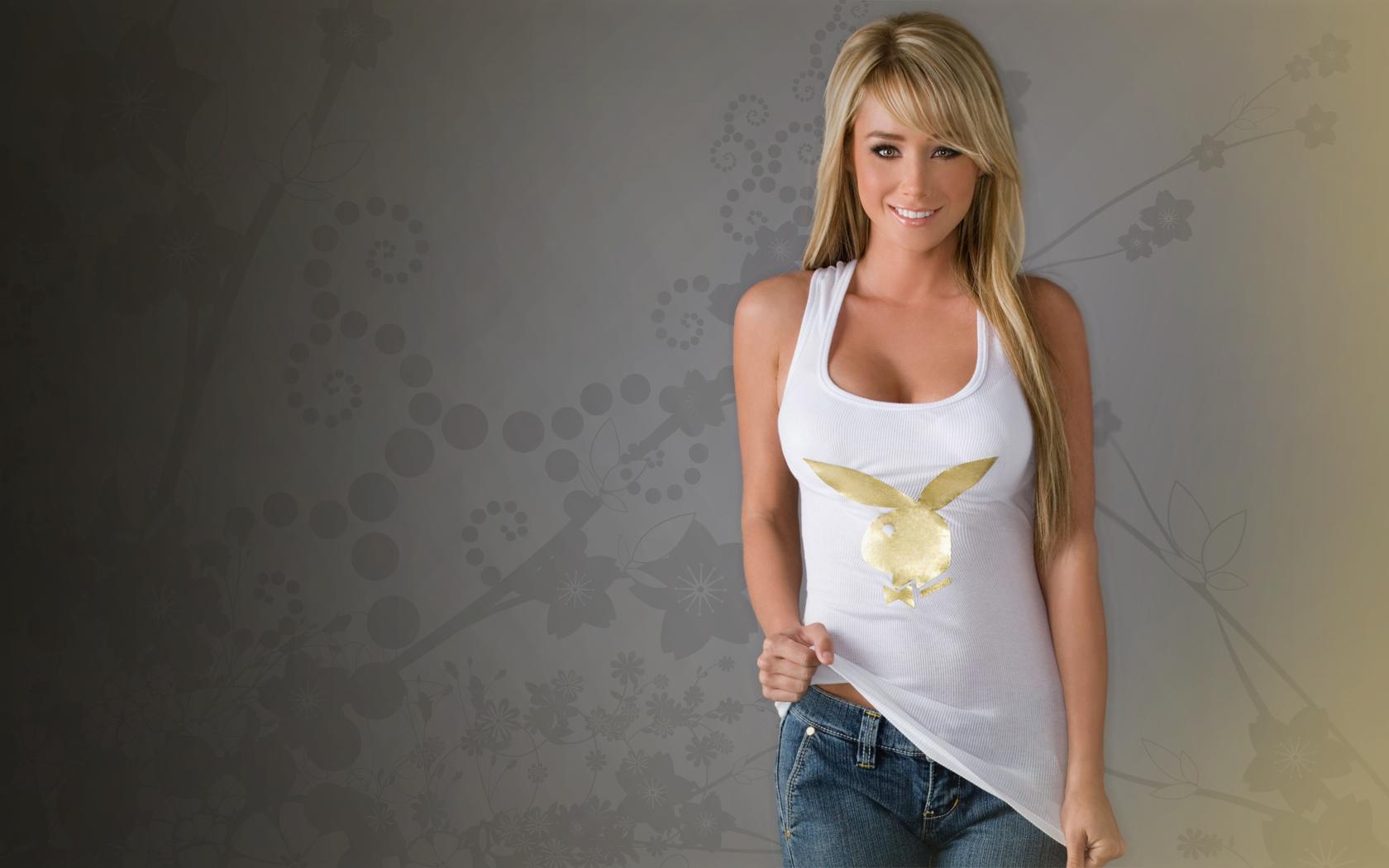 Model Women Jeans Blonde Necks Sara Jean Underwood Tank Top Smiling Long Hair White Tops Pink