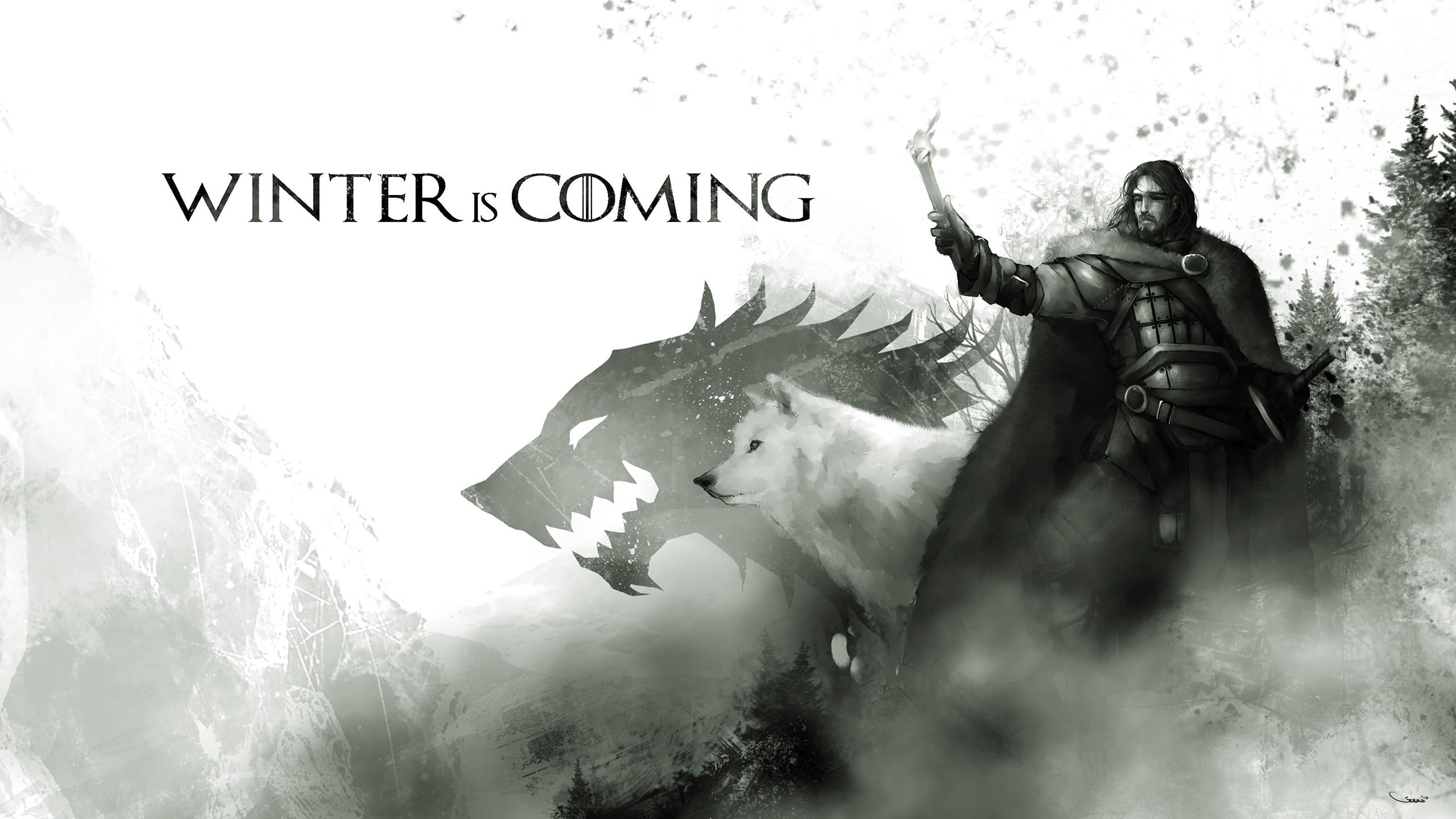 Wallpaper Artwork Game Of Thrones Jon Snow Black And