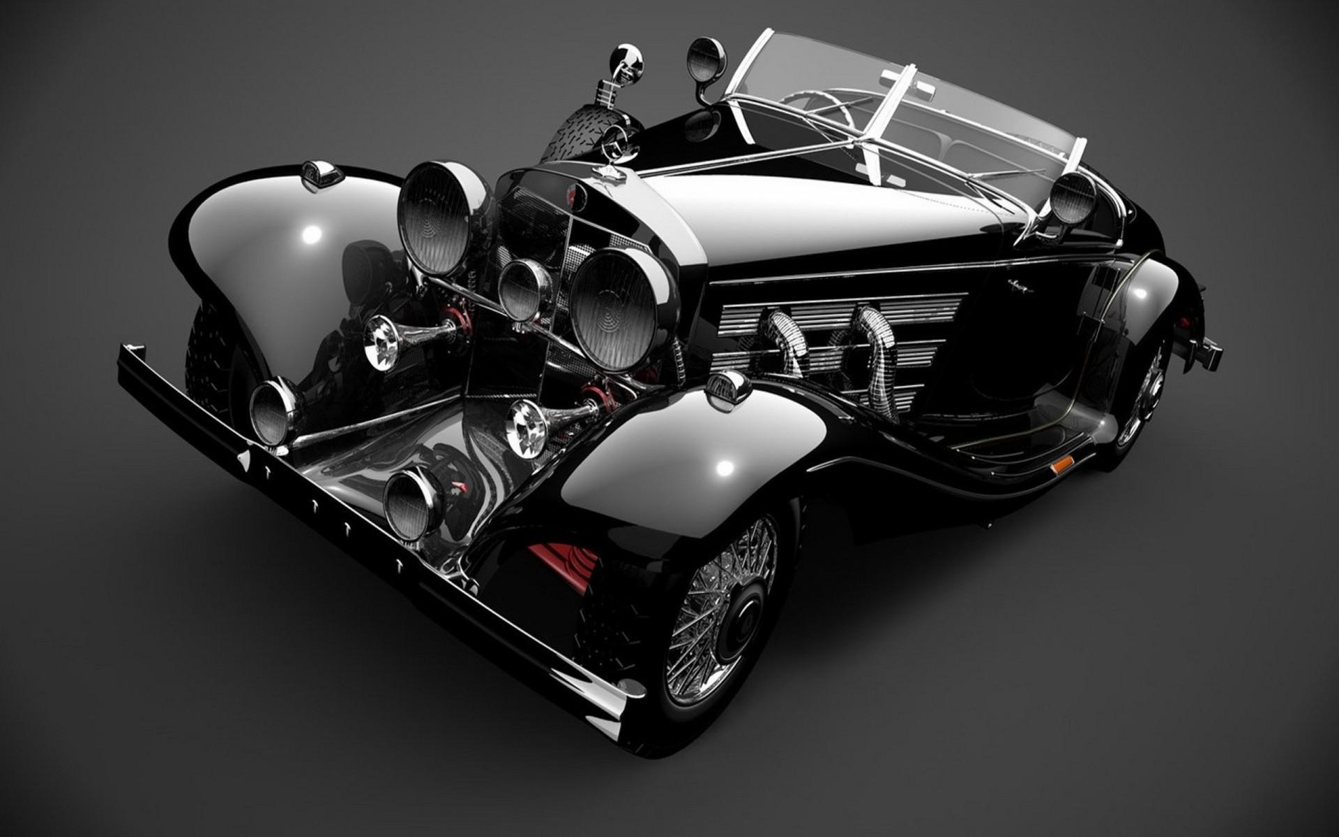Monochrome Car Vehicle Mercedes Benz Vintage Sports Classic 1920x1200 Px Black
