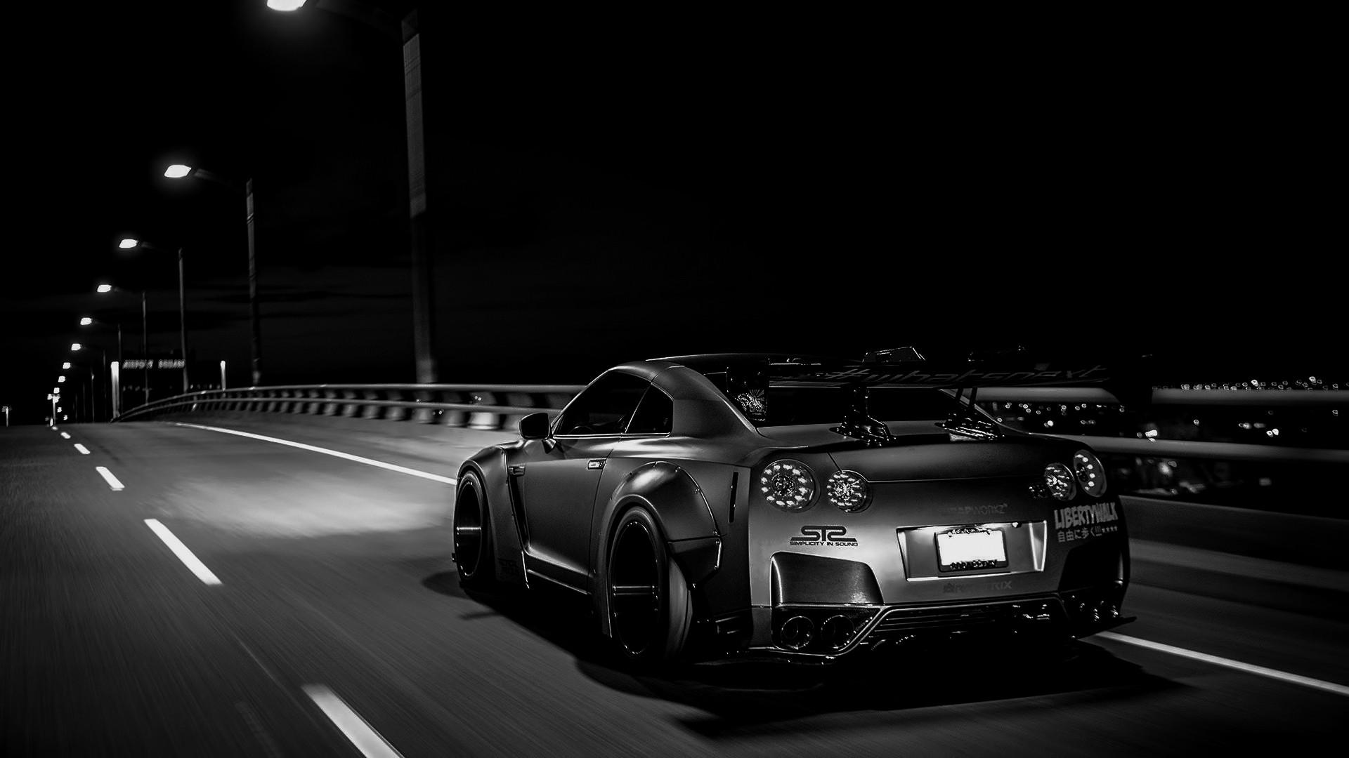 Monochrome Car Vehicle Nissan GTR Sports Car Nissan Skyline GT R R35 Tuning  Performance Car Liberty