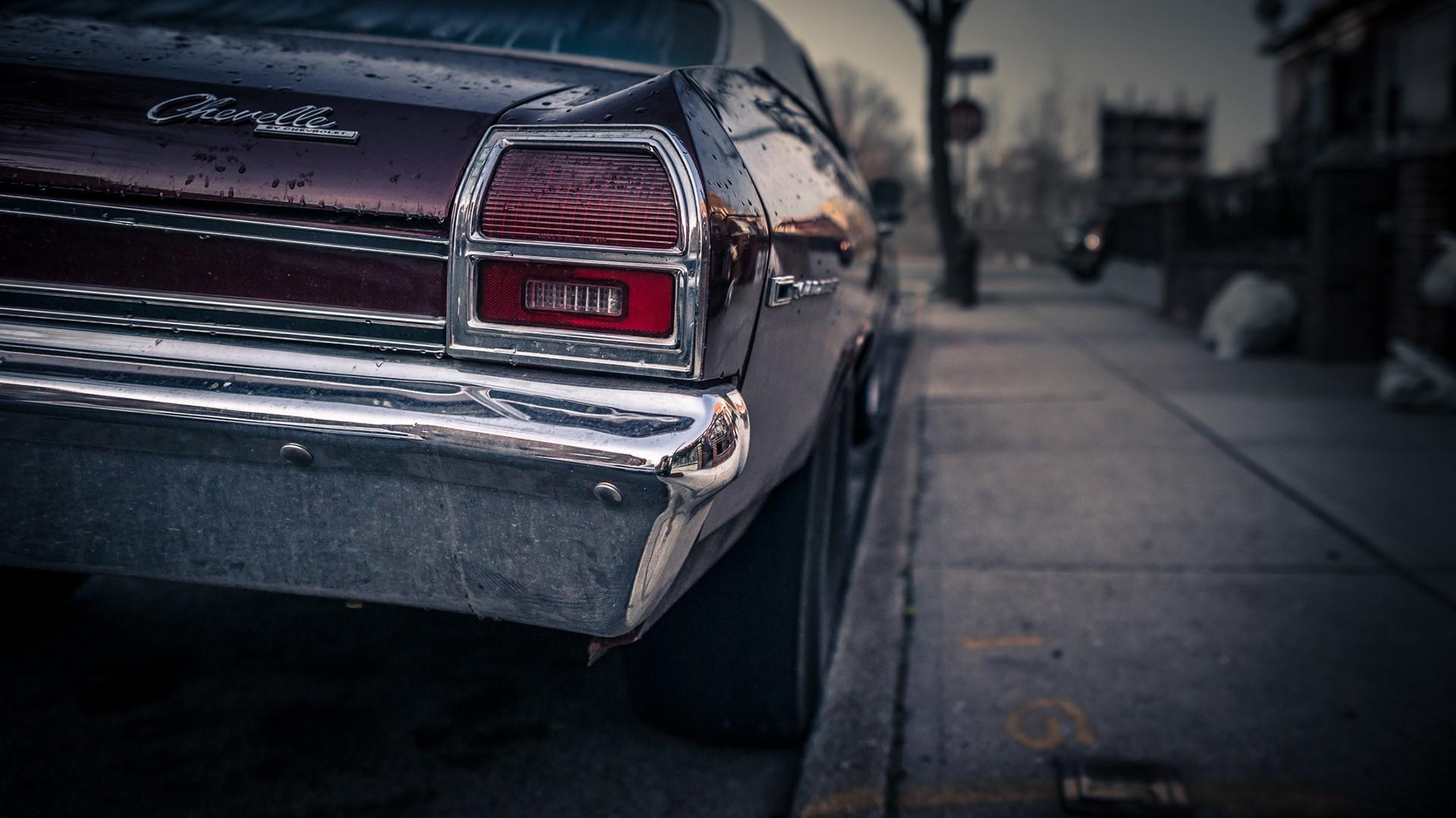 Wallpaper Monochrome Closeup Chevrolet Chevelle Sedan Wheel