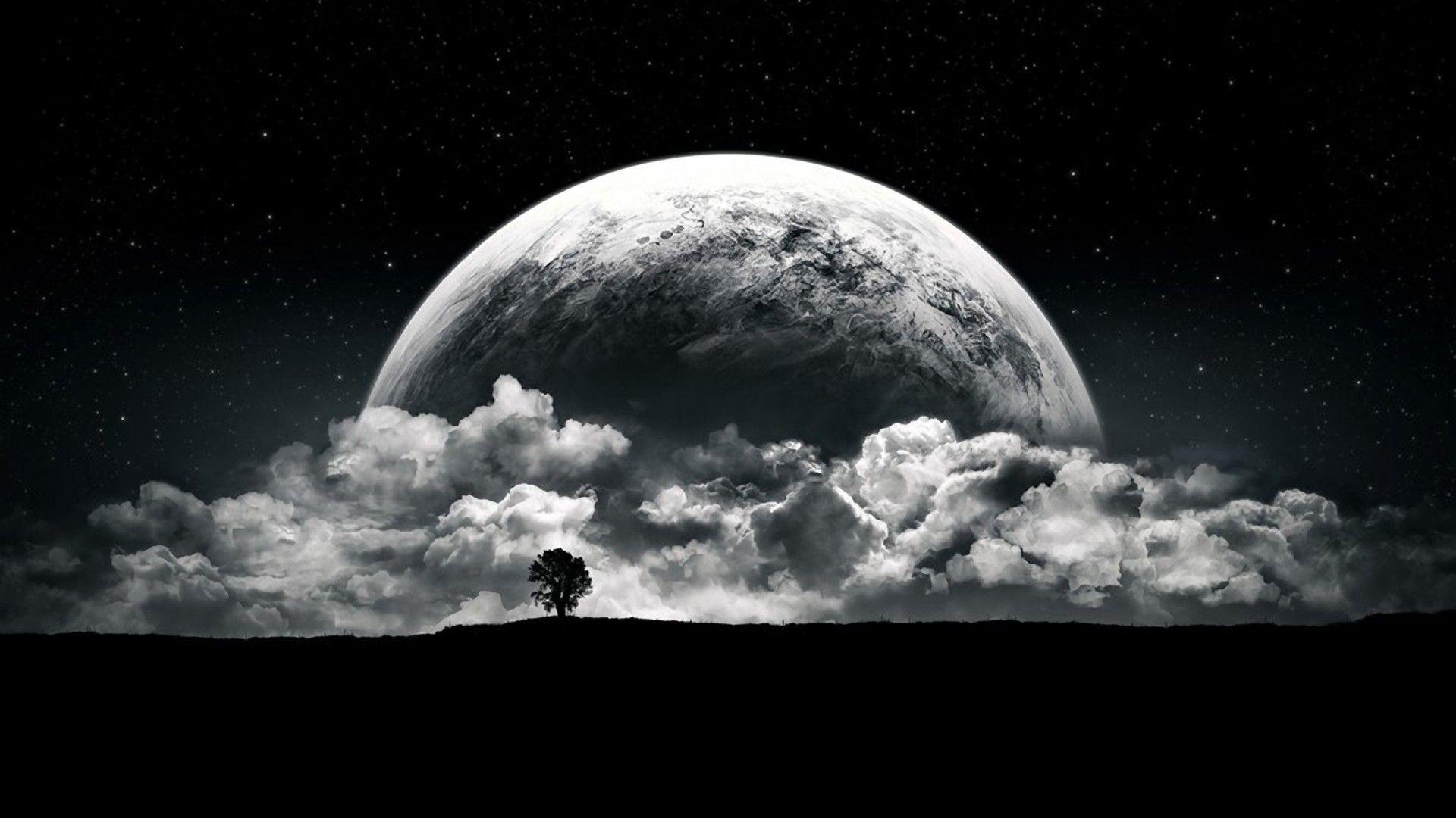 デスクトップ壁紙 モノクロ 惑星 月光 雰囲気 天文学 闇 黒と白 宇宙空間 天体 19x1080 Brokenvegetable デスクトップ壁紙 Wallhere