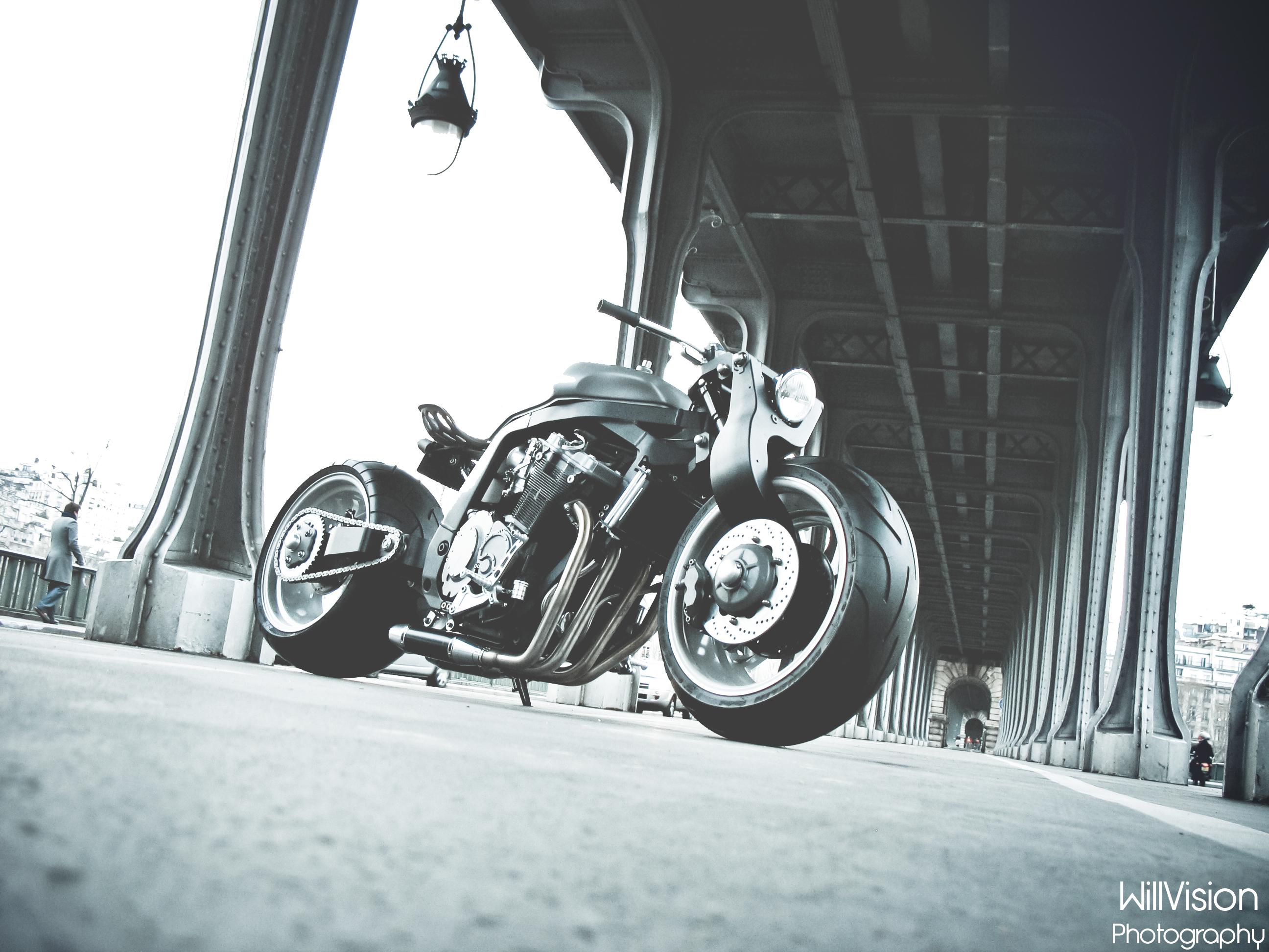 Wallpaper Street Night Car Motorcycle Canon France Bobber